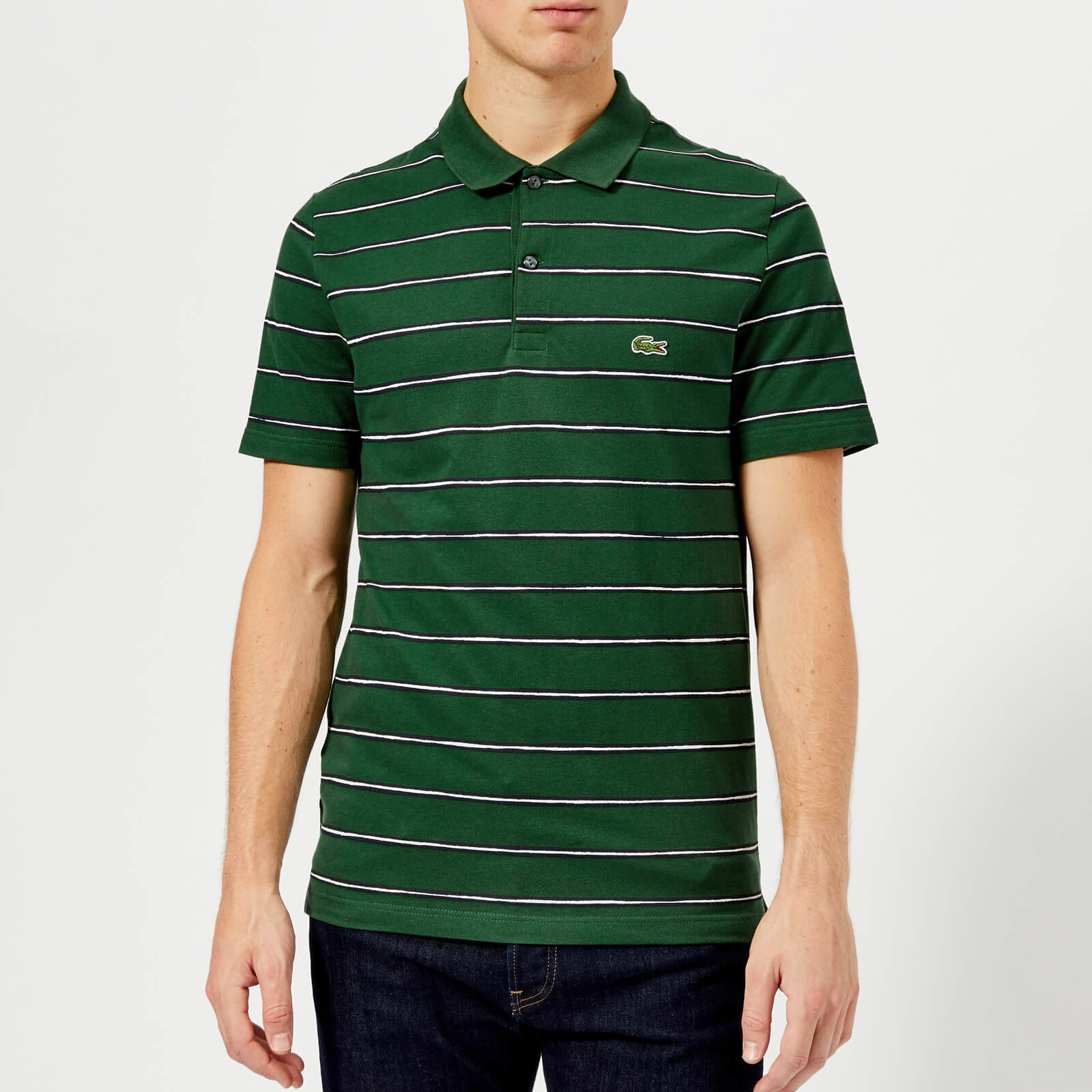133406df6 Lacoste Men s Small Striped Polo Shirt - Green Abyssal Blue-White - Free UK  Delivery over £50