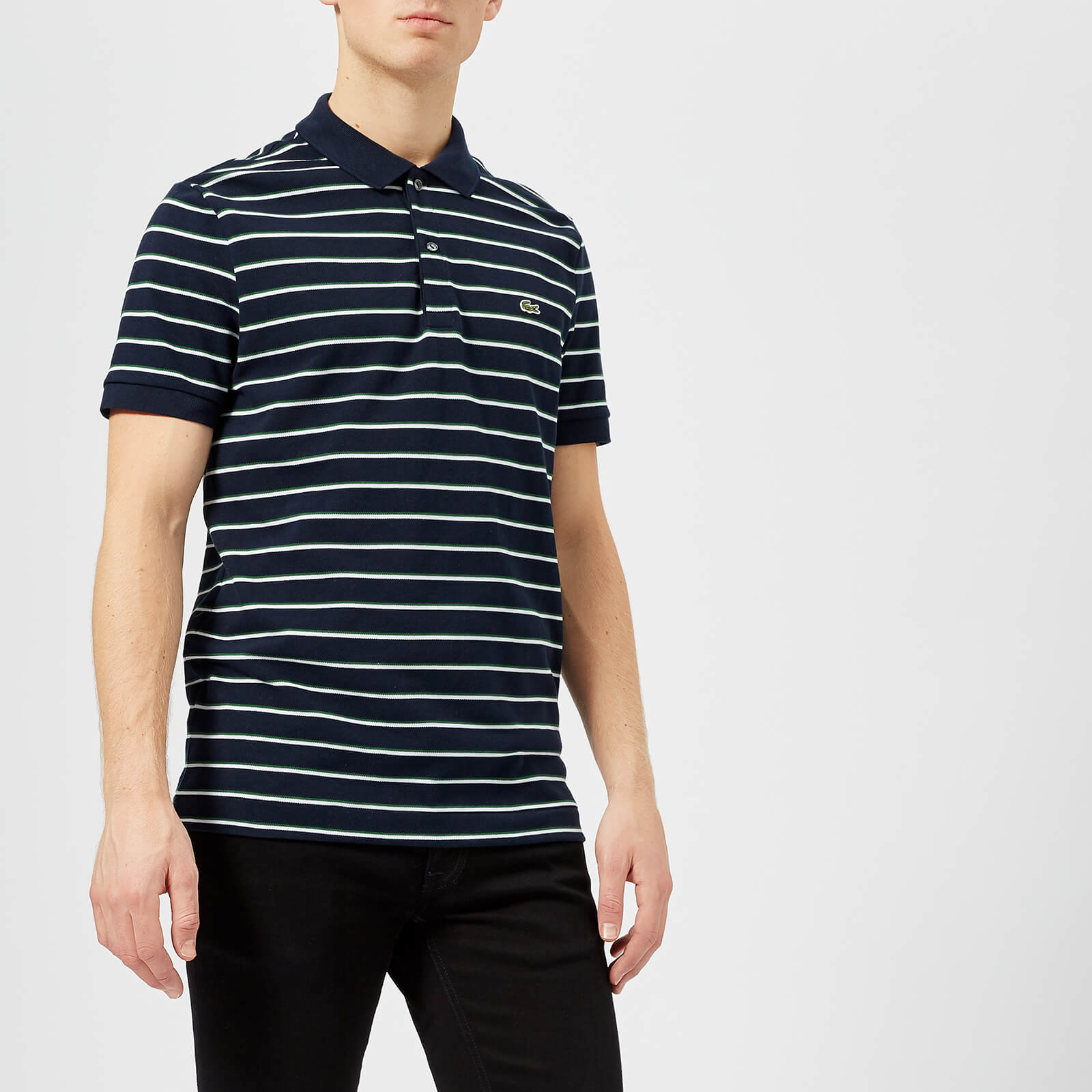 9032486061a9 Lacoste Men s Short Sleeved Striped Polo Shirt - Navy Blue White-Green -  Free UK Delivery over £50