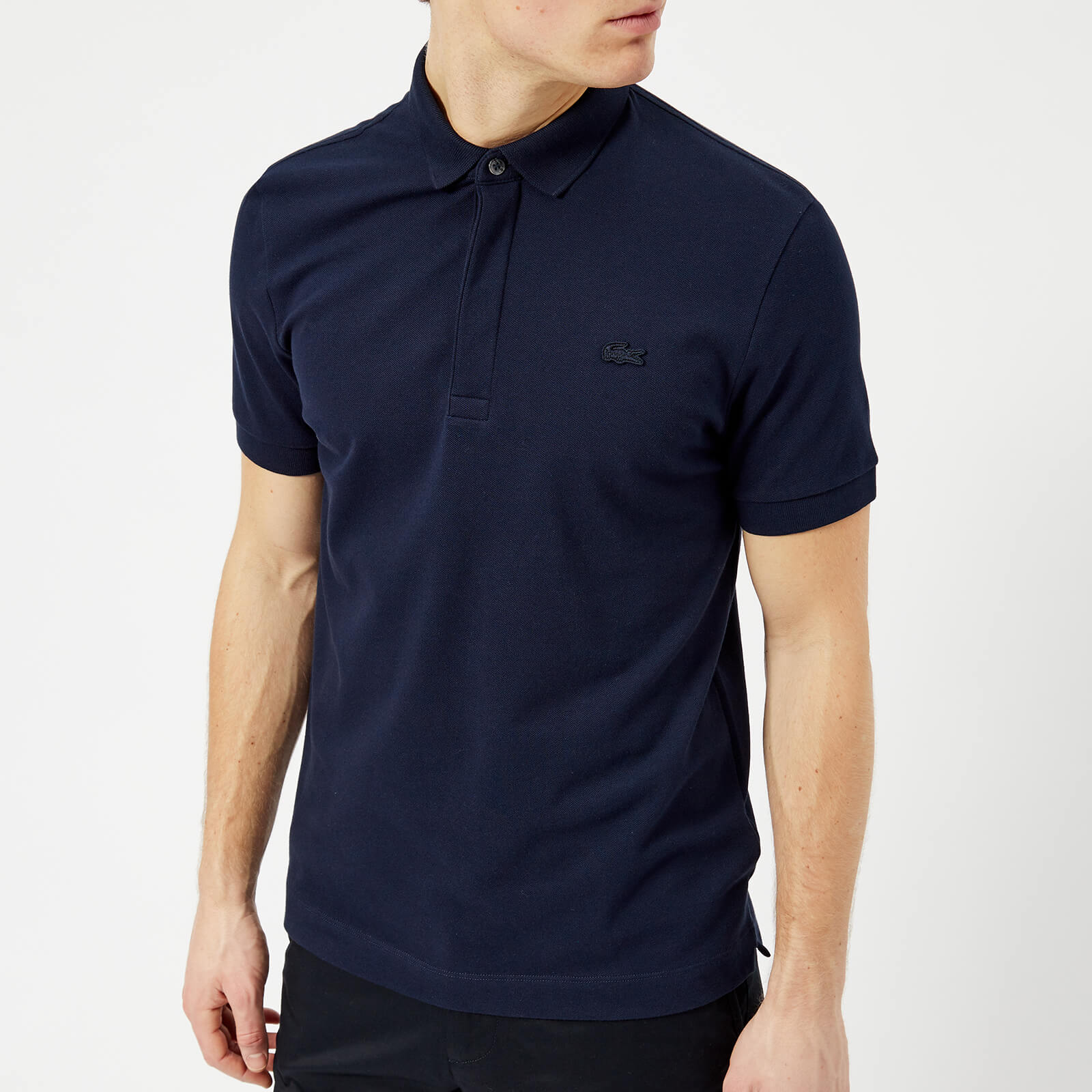 e10eb2e8845392 Lacoste Men's Short Sleeve Paris Polo Shirt - Navy Clothing | TheHut.com