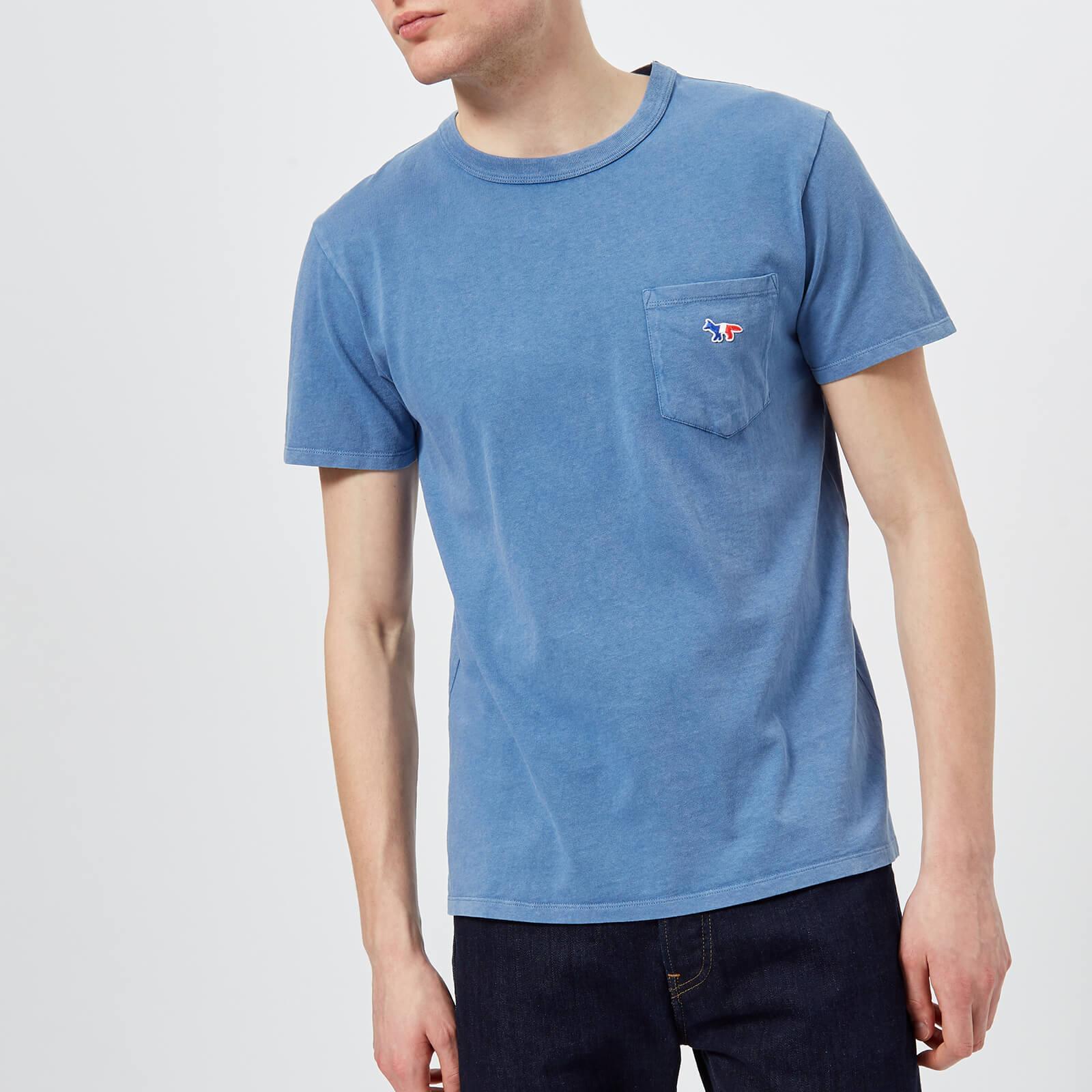 2faaaf3c3bed Maison Kitsuné Men s Tricolor Fox Patch T-Shirt - Blue - Free UK Delivery  over £50