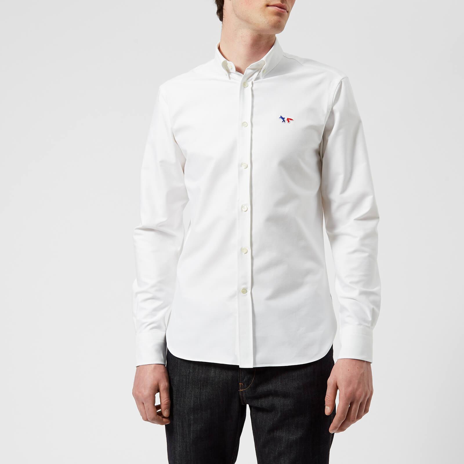 4cb660dd07a8 Maison Kitsuné Men s Tricolor Fox Patch Oxford Shirt - White - Free UK  Delivery over £50