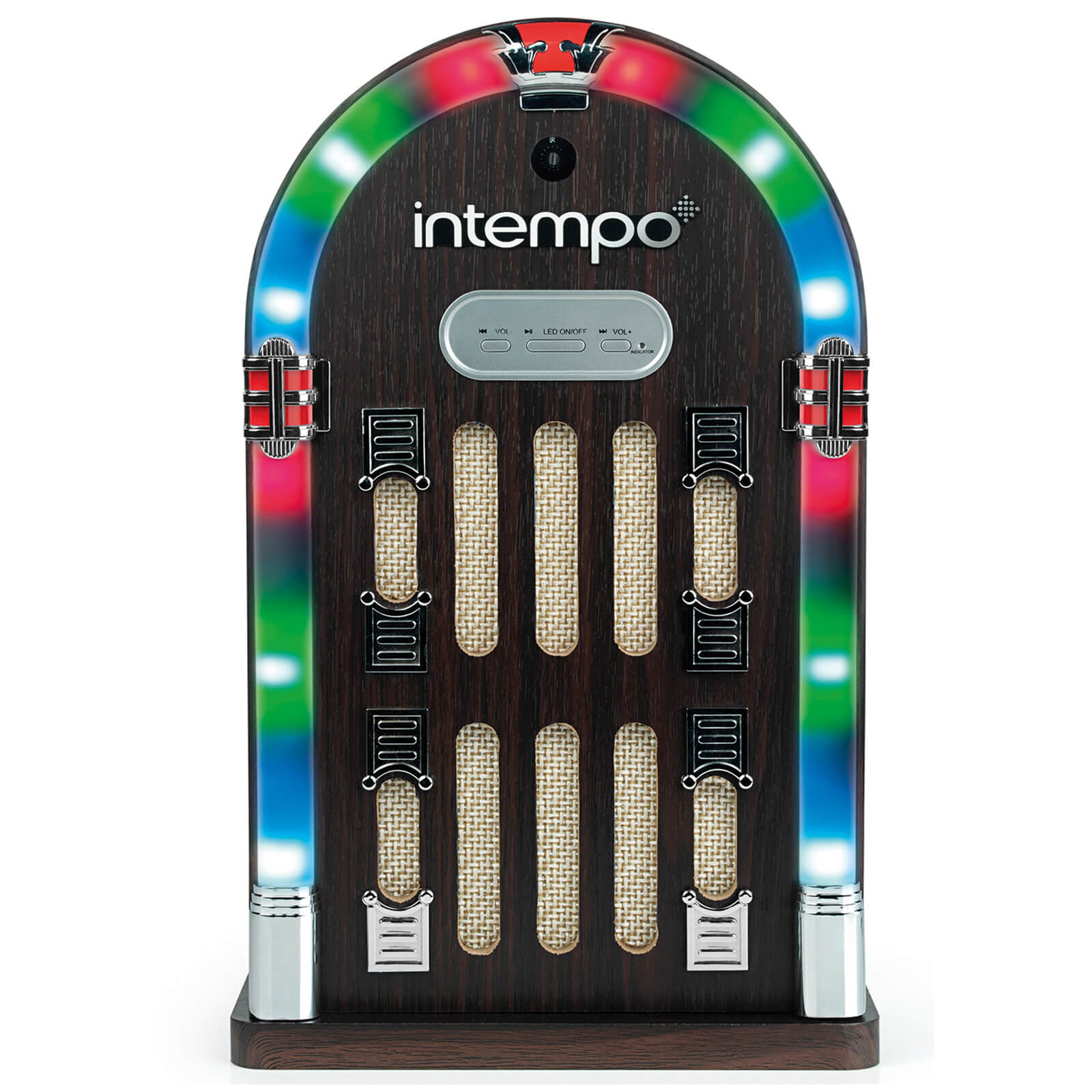 Intempo EE1269STK Mini Jukebox with Bluetooth and LED Lights - Brown