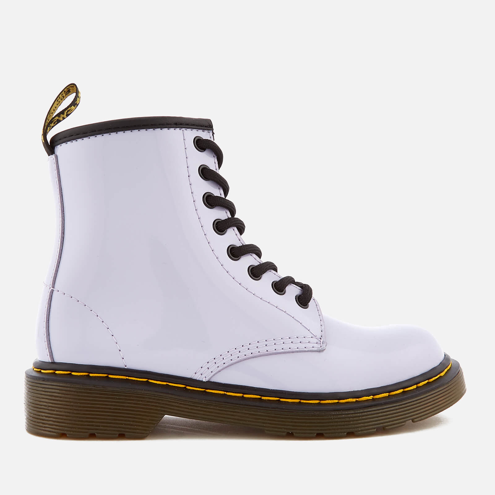 a3c6651a3fb Dr. Martens Kids' Delaney Patent Lamper Leather 8-Eye Lace Up Boots -  Purple Heather
