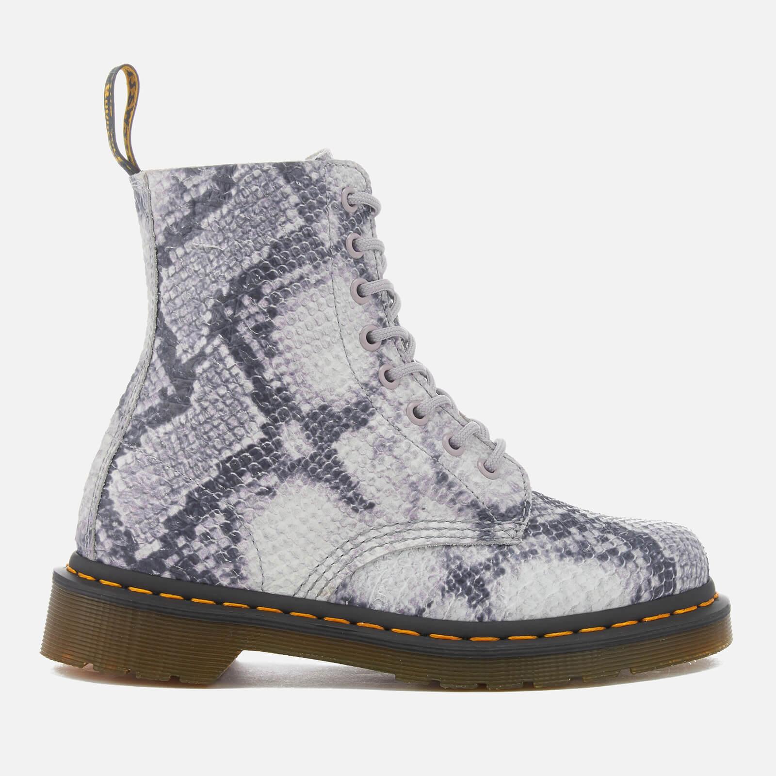 6e4202a1b0a Dr. Martens Women's Pascal Snake 8-Eye Boots - Light Grey