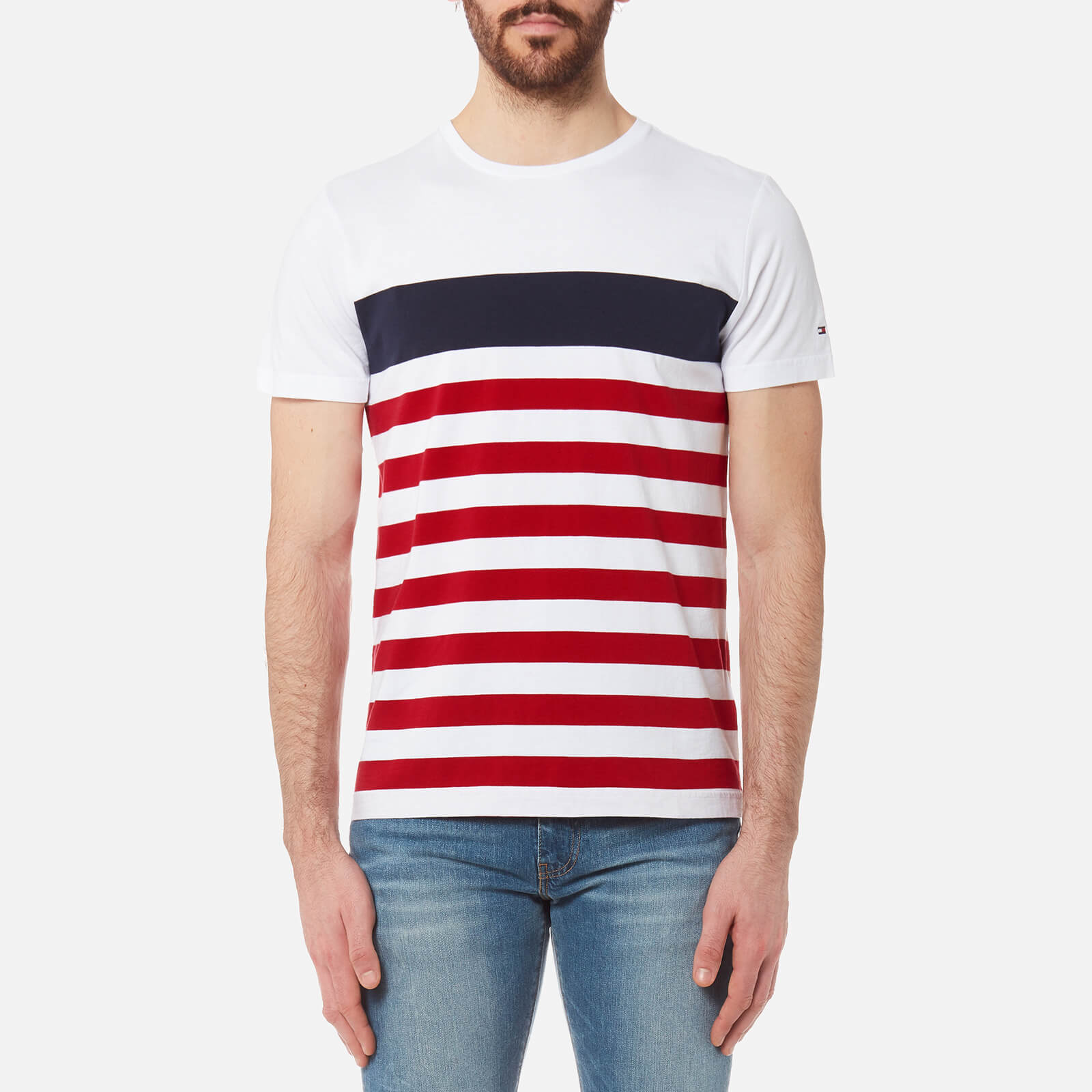 28204f58 Tommy Hilfiger Men's Nas Striped T-Shirt - Bright White Clothing |  TheHut.com