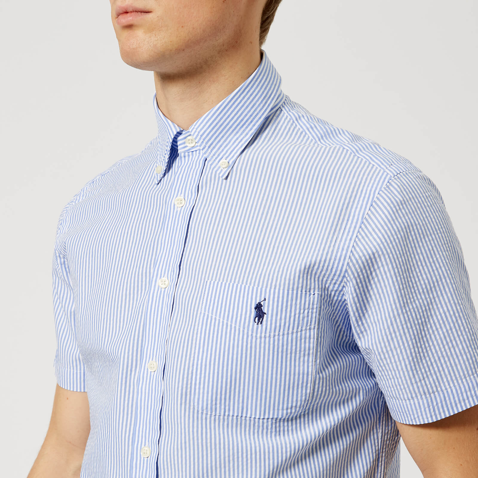 7e49f7c80 Polo Ralph Lauren Men's Short Sleeve Seersucker Shirt - Blue - Free UK  Delivery over £50