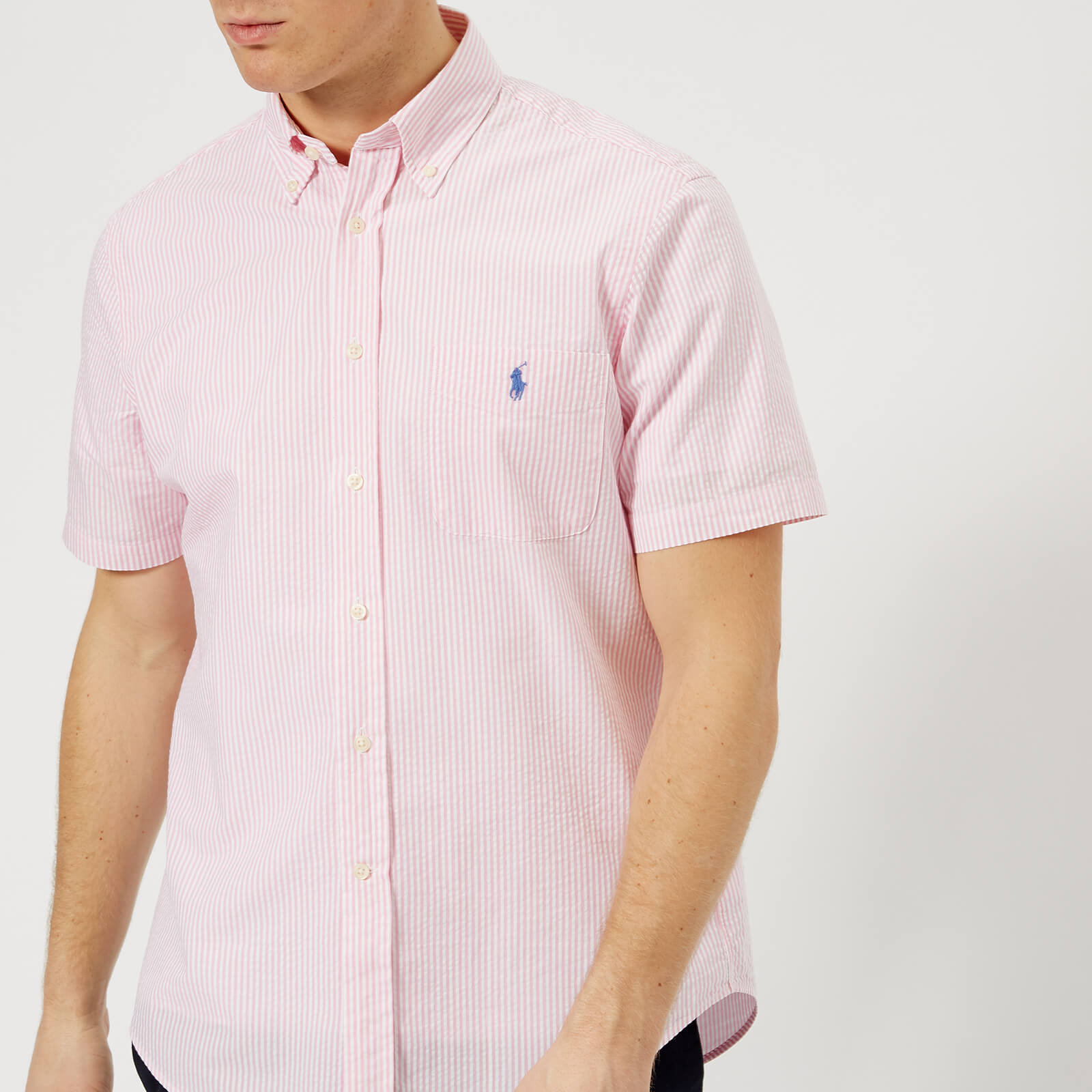 163432c997 Polo Ralph Lauren Men's Seersucker Stripe Shirt - Pink/White - Free UK  Delivery over £50