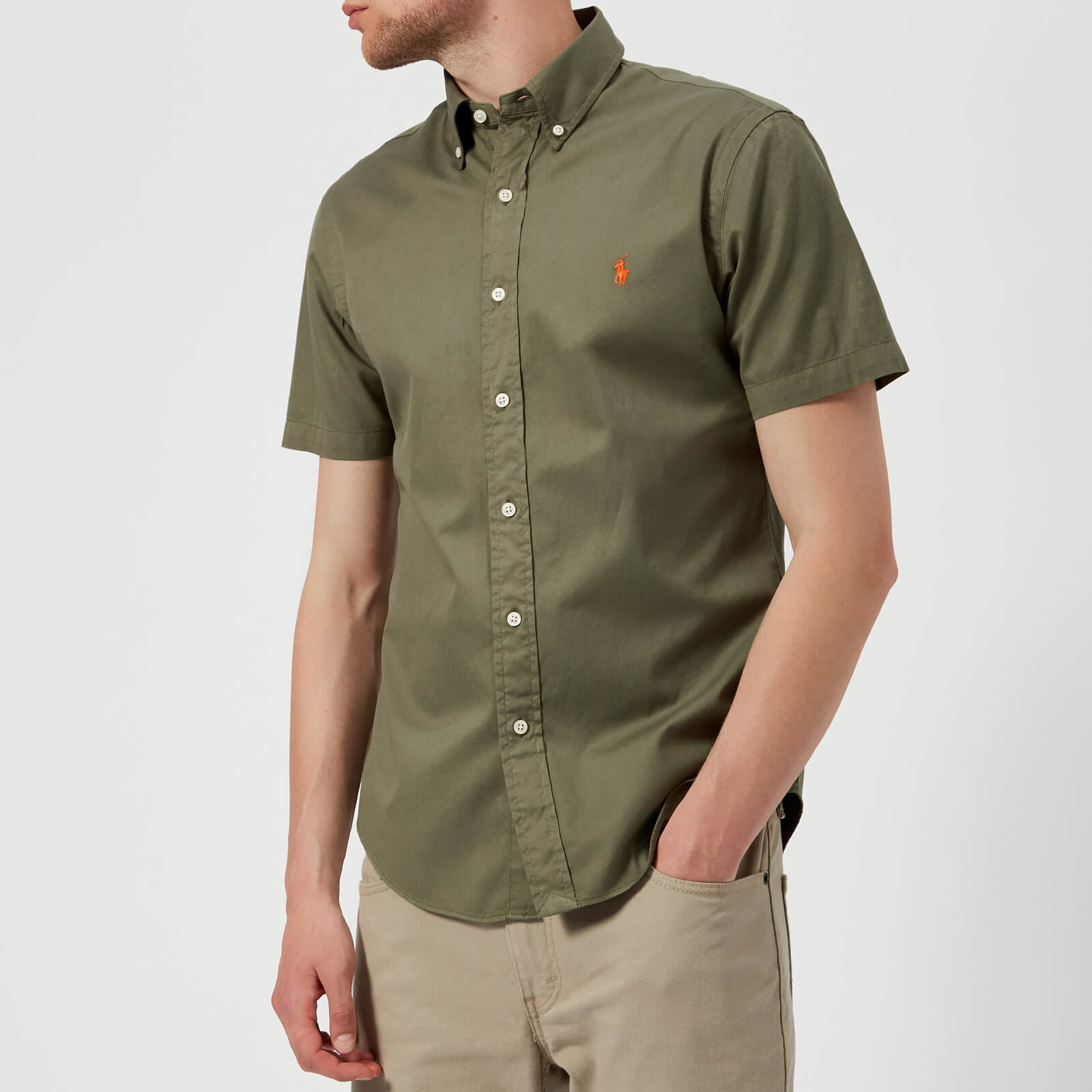 575b126489ca Polo Ralph Lauren Men s Short Sleeve Chino Shirt - Mountain Green - Free UK  Delivery over £50