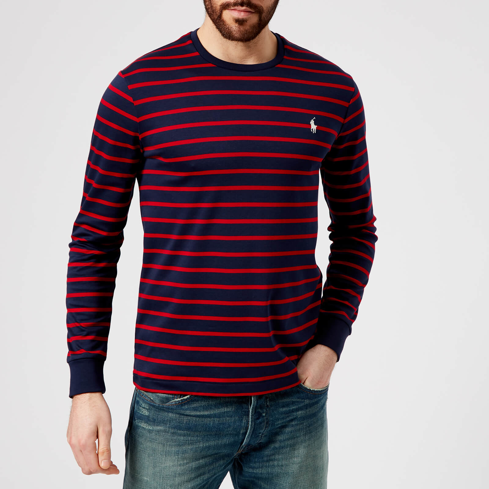 2002ef346de Polo Ralph Lauren Men s Long Sleeve Stripe Top - French Navy Ralph Red -  Free UK Delivery over £50