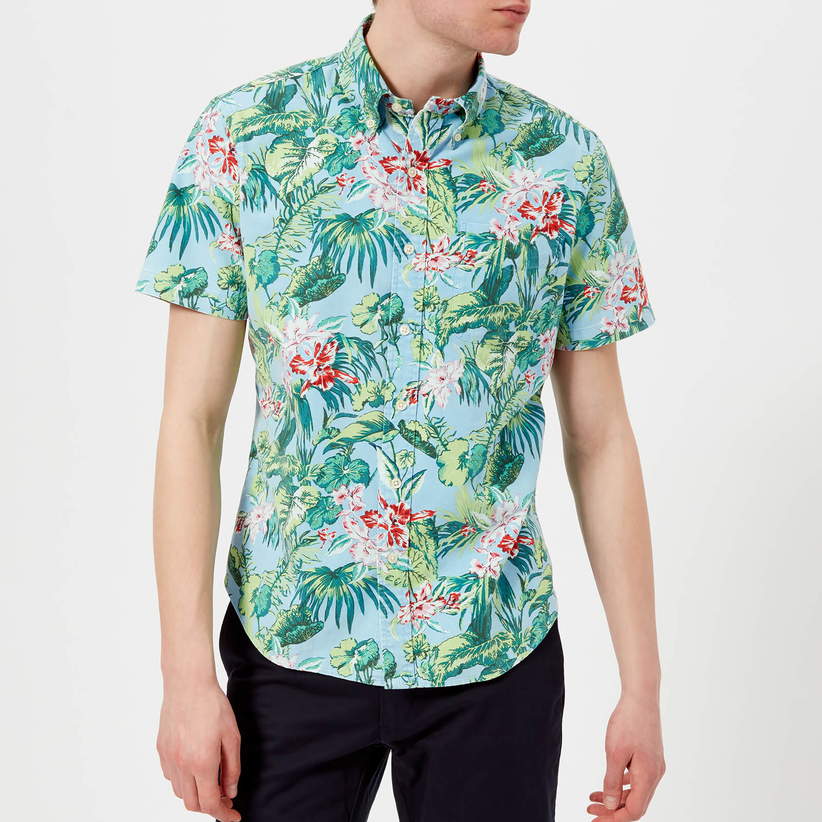 5f1aa550 Polo Ralph Lauren Men's Short Sleeve Palm Floral Shirt - Blue - Free UK  Delivery over £50