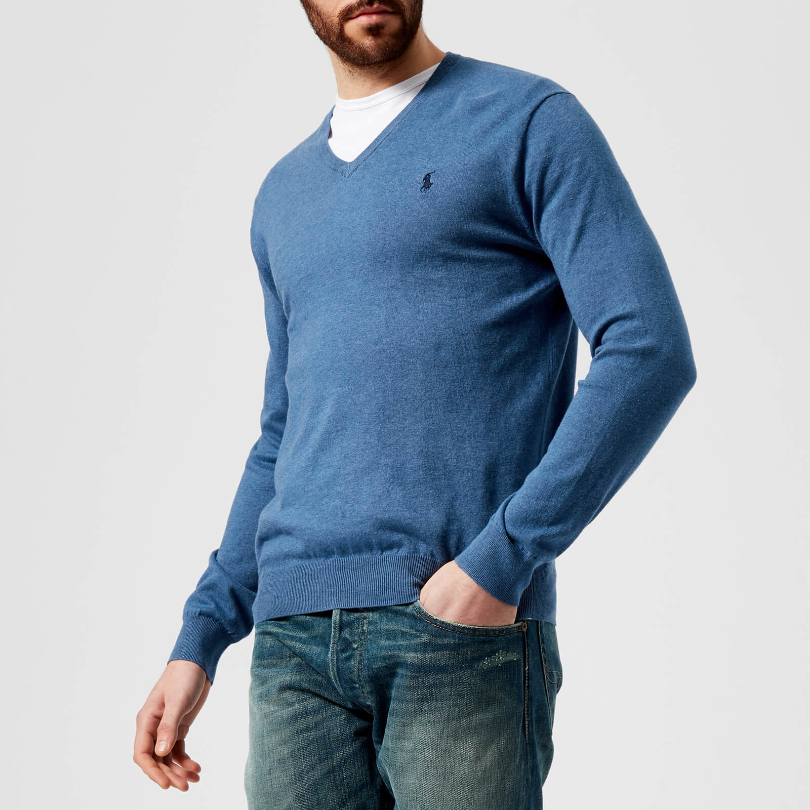 e46f869130e Polo Ralph Lauren Men's Pima V-Neck Knitted Jumper - Haven Blue Heather