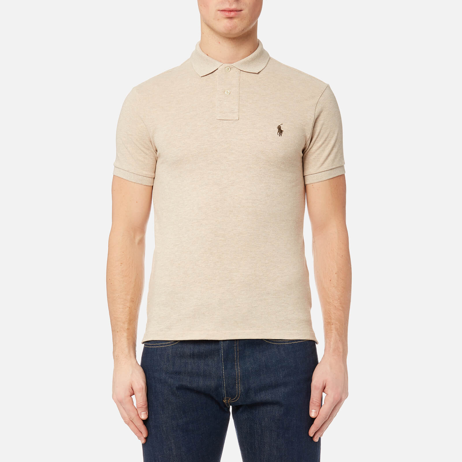 7dc5a675 Polo Ralph Lauren Men's Slim Fit Short Sleeve Polo Shirt - Expedition Dune  Heather - Free UK Delivery over £50