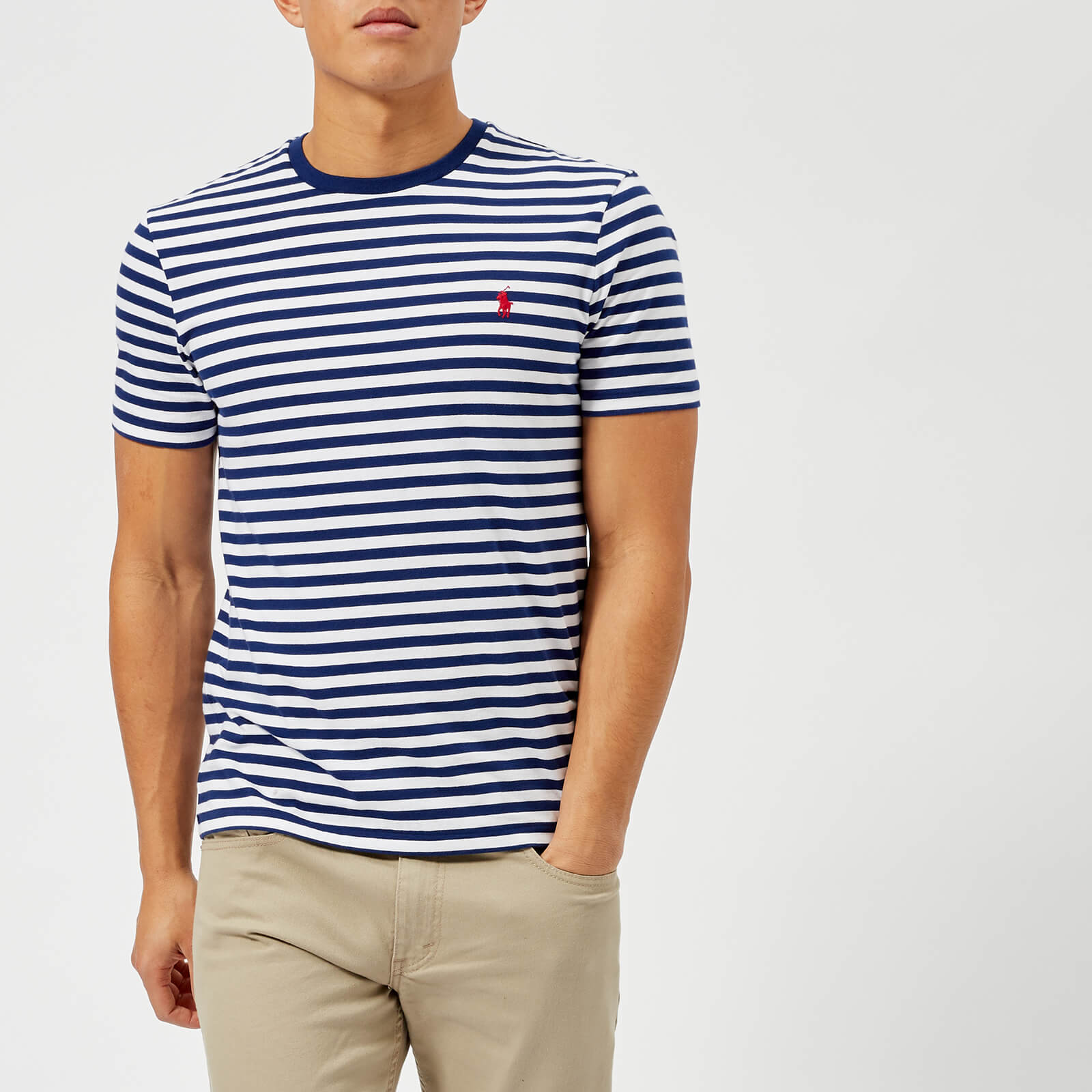 34e28b1139d58 Polo Ralph Lauren Men s Striped Short Sleeve T-Shirt - Fall Royal White -  Free UK Delivery over £50