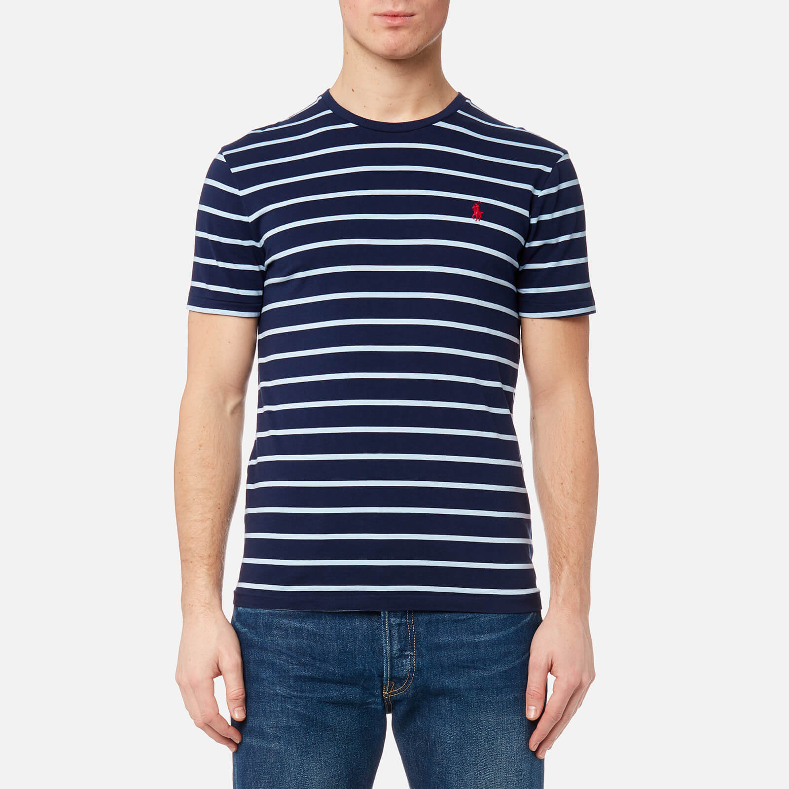 f0697065 Polo Ralph Lauren Men's Striped Short Sleeve T-Shirt - Newport Navy/Elite  Blue - Free UK Delivery over £50