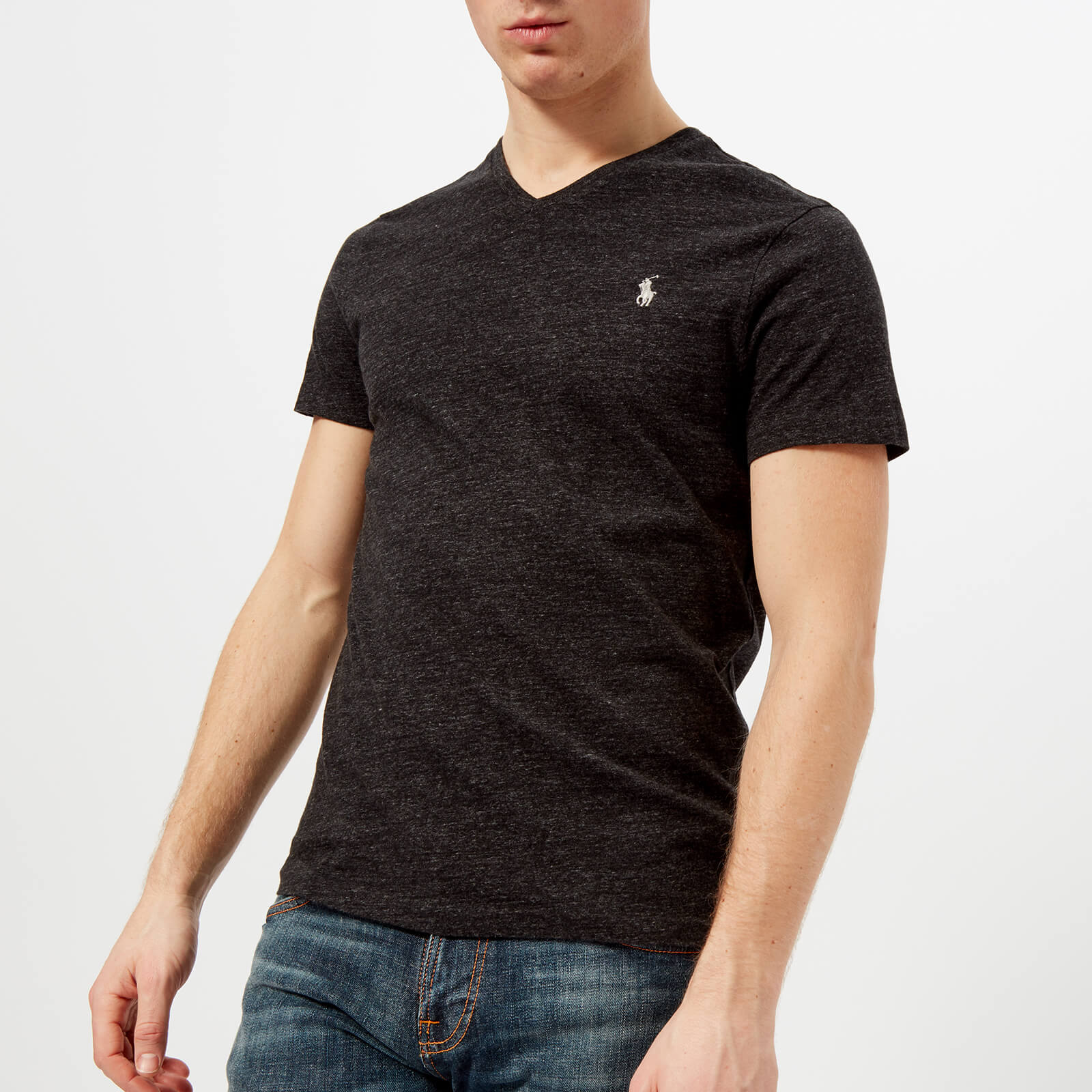 d587cdaa9fc6 Polo Ralph Lauren Men's V-Neck T-Shirt - Black Marl Heather - Free UK  Delivery over £50