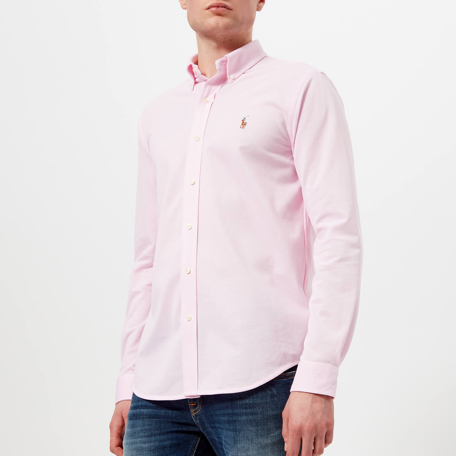 42eec03a0 Polo Ralph Lauren Men s Long Sleeve Oxford Pique Shirt - Carmel Pink White  - Free UK Delivery over £50