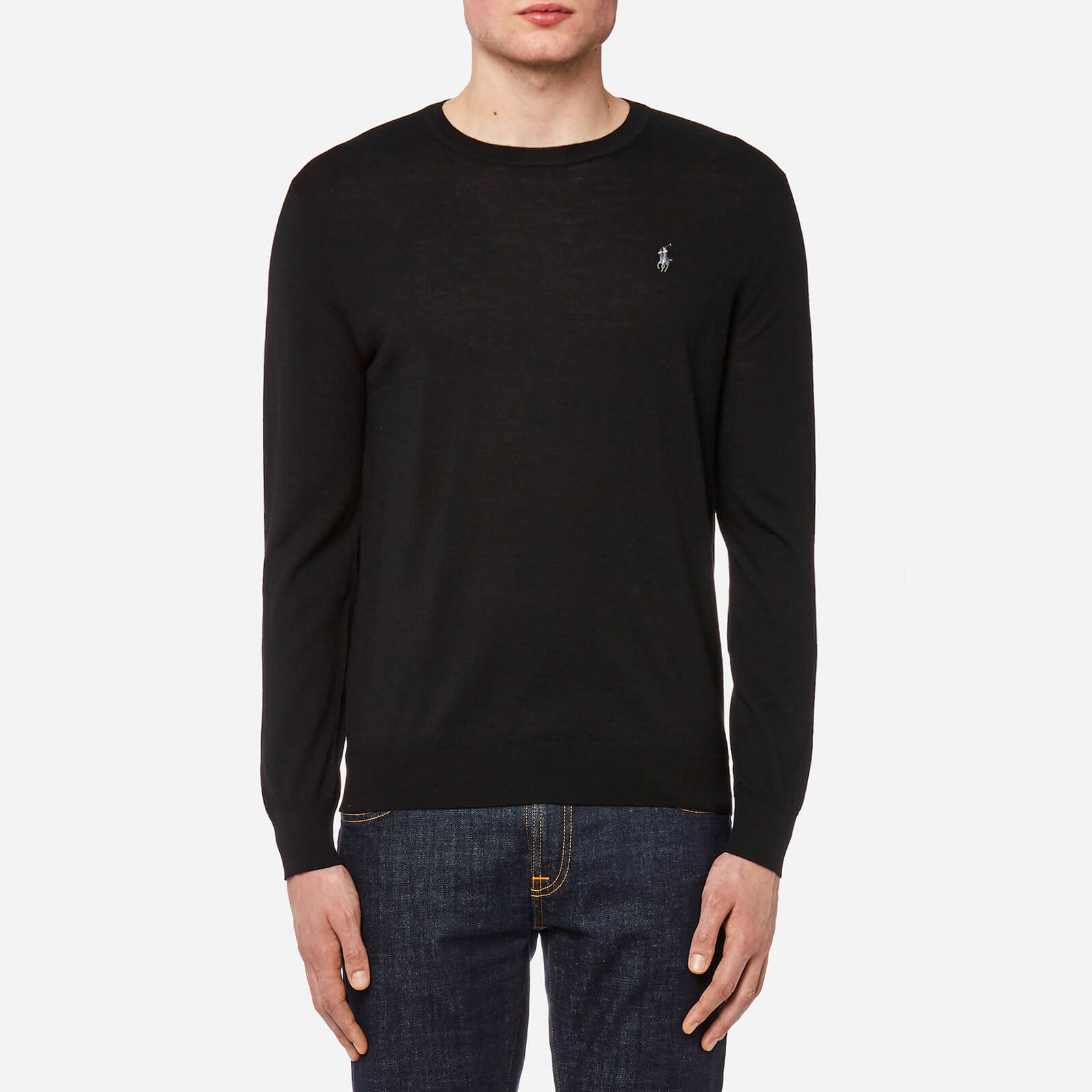 9eaf8a4a9de9 Polo Ralph Lauren Men s Merino Wool Long Sleeve Jumper - Polo Black - Free  UK Delivery over £50