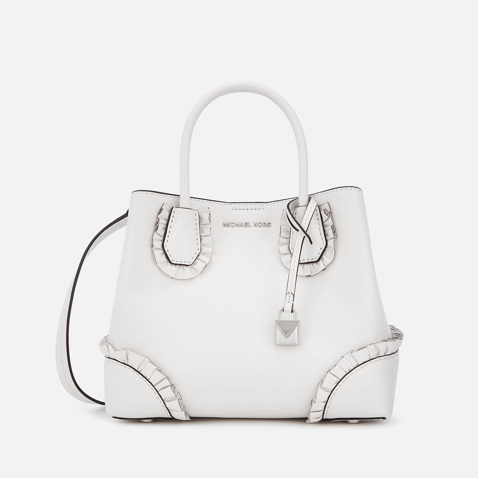 61f5bc247da3 MICHAEL MICHAEL KORS Women's Mercer Gallery Small Ruffle Satchel - Optic  White - Free UK Delivery over £50