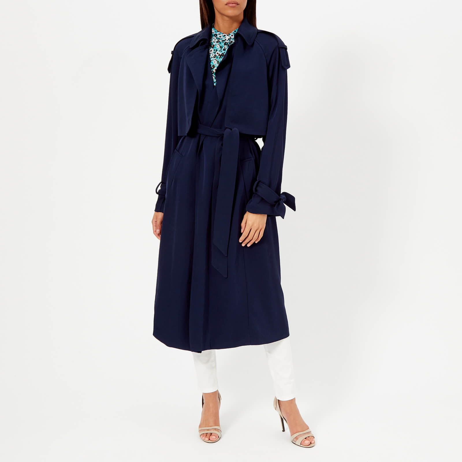 c4f80b1072 MICHAEL MICHAEL KORS Women's Drapey Trench Coat - True Navy - Free UK  Delivery over £50