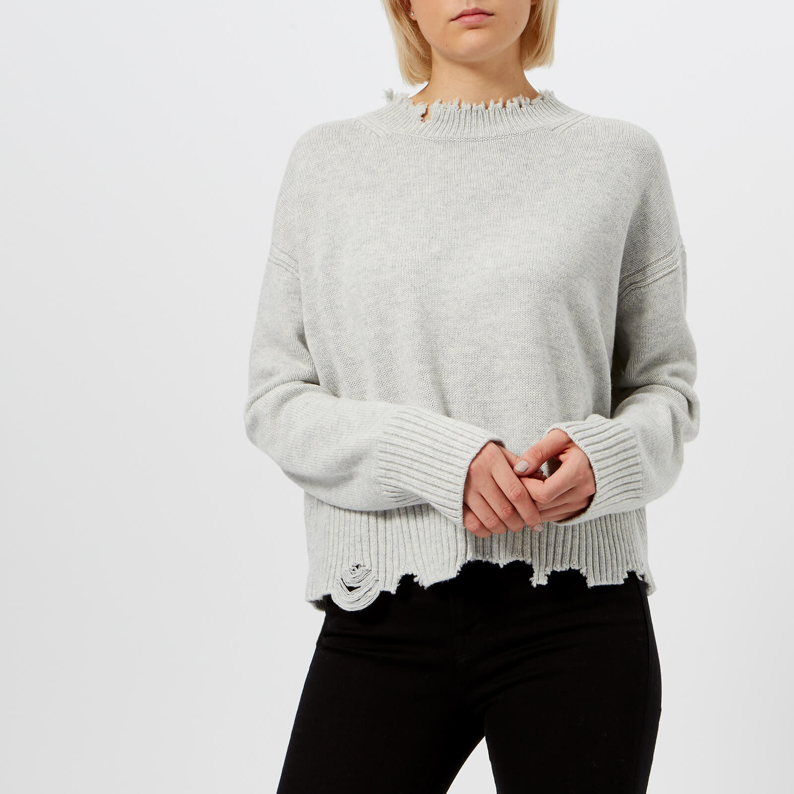 c02e22b381b1f Helmut Lang Women s Distressed Crew Neck Jumper - Snowstorm - Free UK  Delivery over £50