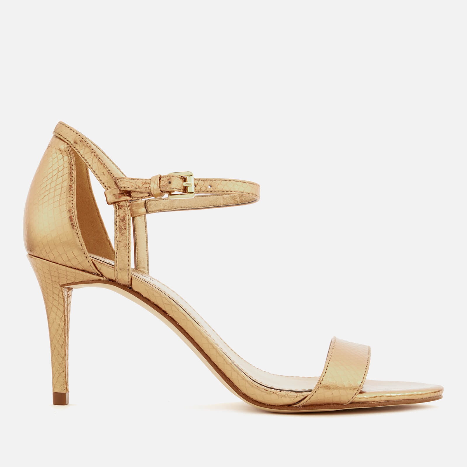 08c7b68067c68 MICHAEL MICHAEL KORS Women's Simone Shiny Metallic Snake Barely There  Heeled Sandals - Antique Gold Womens Footwear | TheHut.com