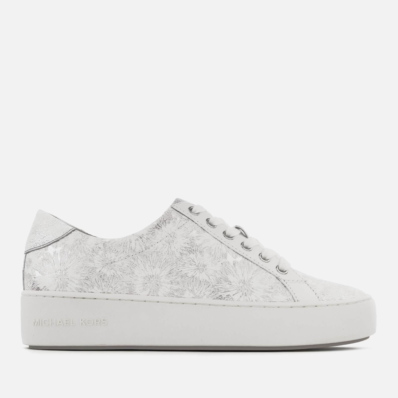 8819ec28ecec MICHAEL MICHAEL KORS Women s Poppy Metallic Flower Leather Low Top Trainers  - Optic Silver Womens Footwear