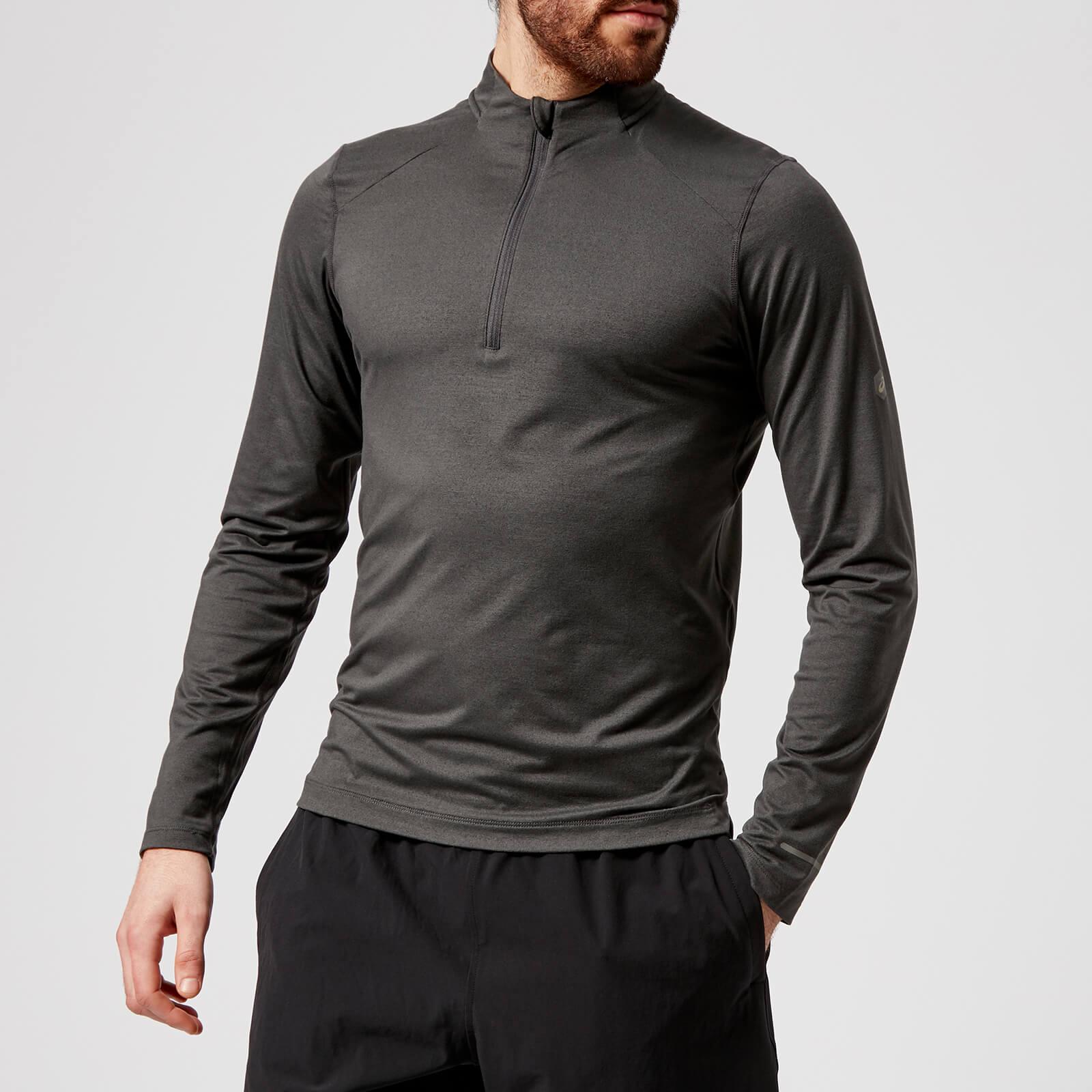 94f6acd6 Asics Running Men's Long Sleeve 1/2 Zip Jersey Top - Dark Grey Heather