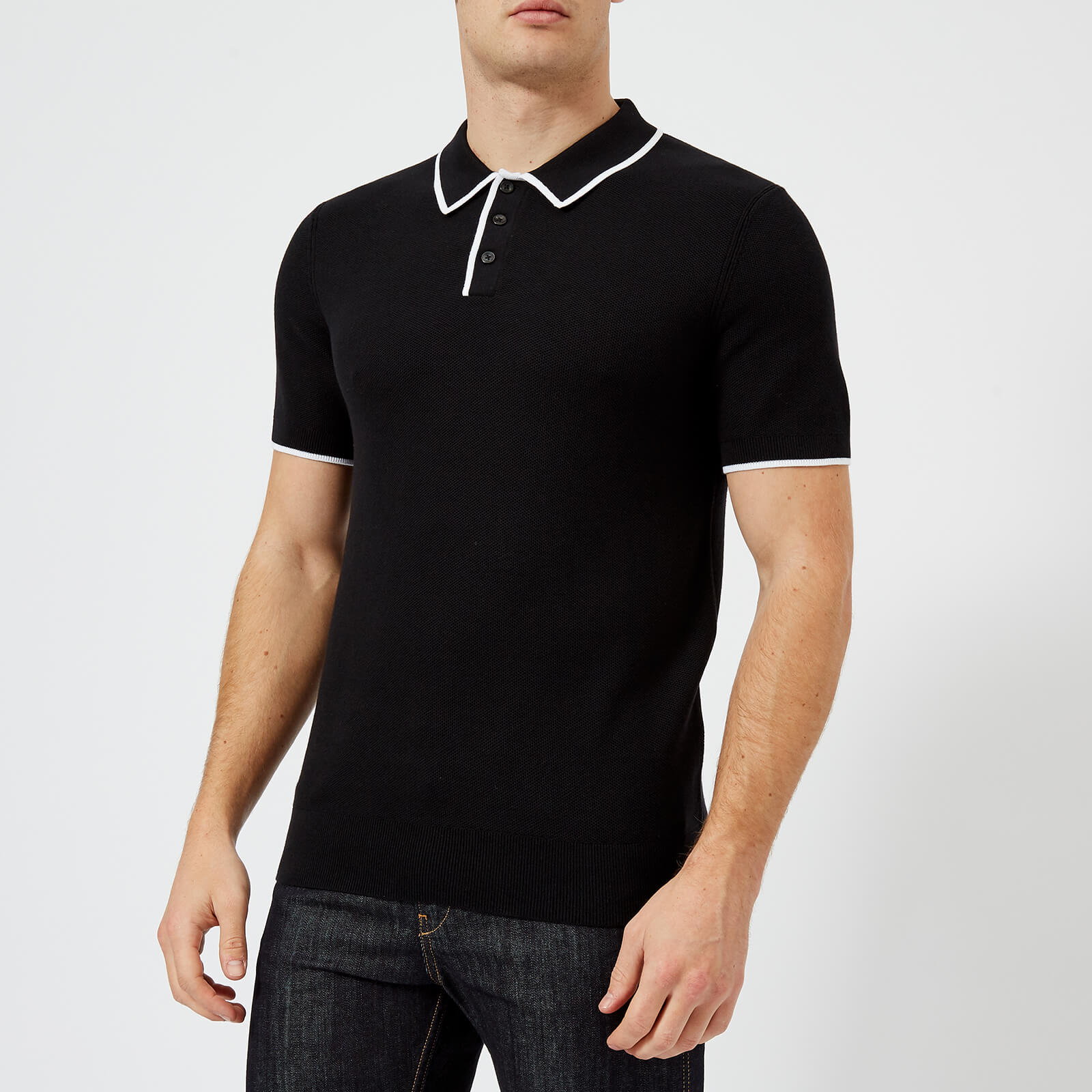 d0dd3998 ... Michael Kors Men's Tipped Supima Cotton Tuck Stitch Knitted Polo Shirt  - Black