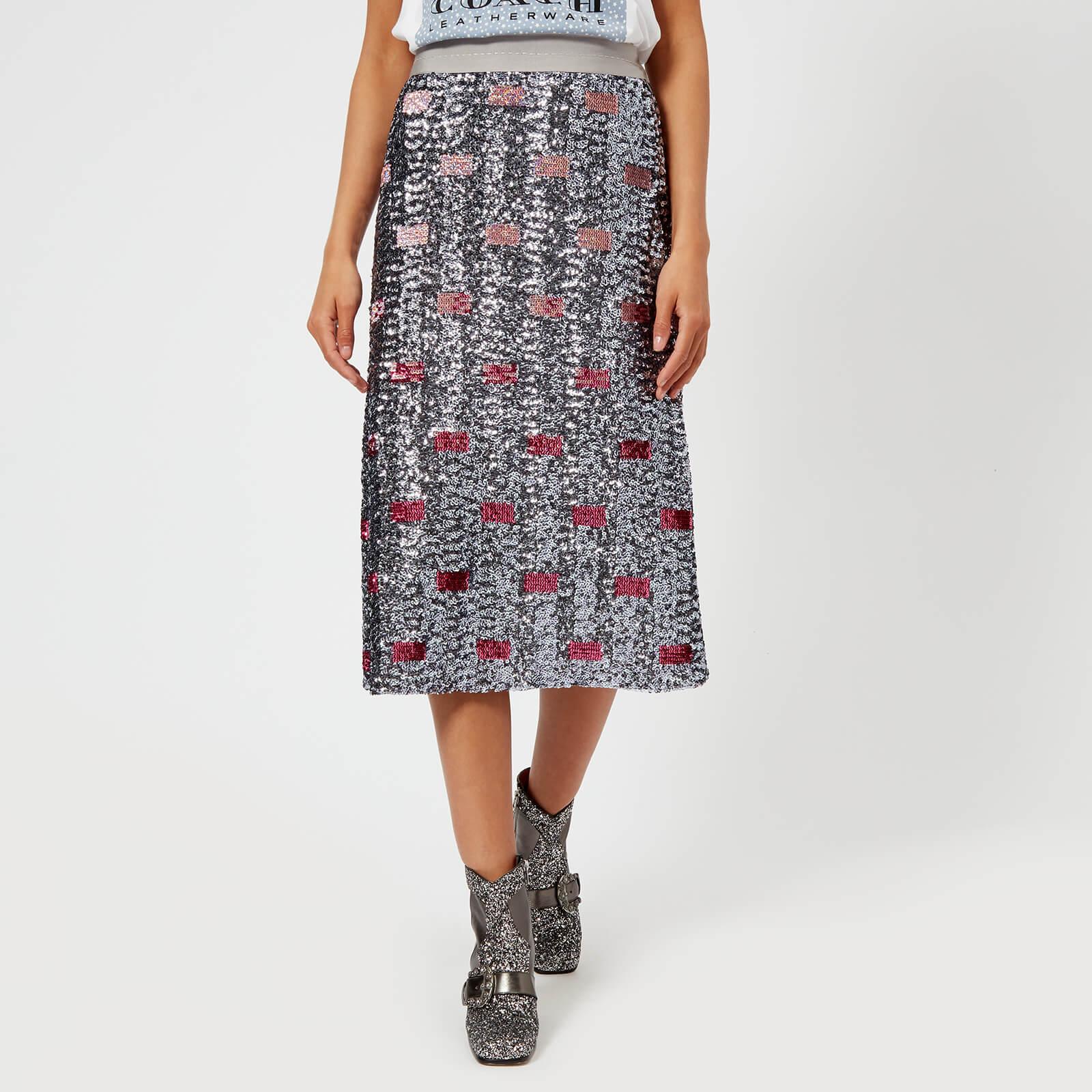Coach 1941 Women's Long Embellished Skirt – Pink/Silver