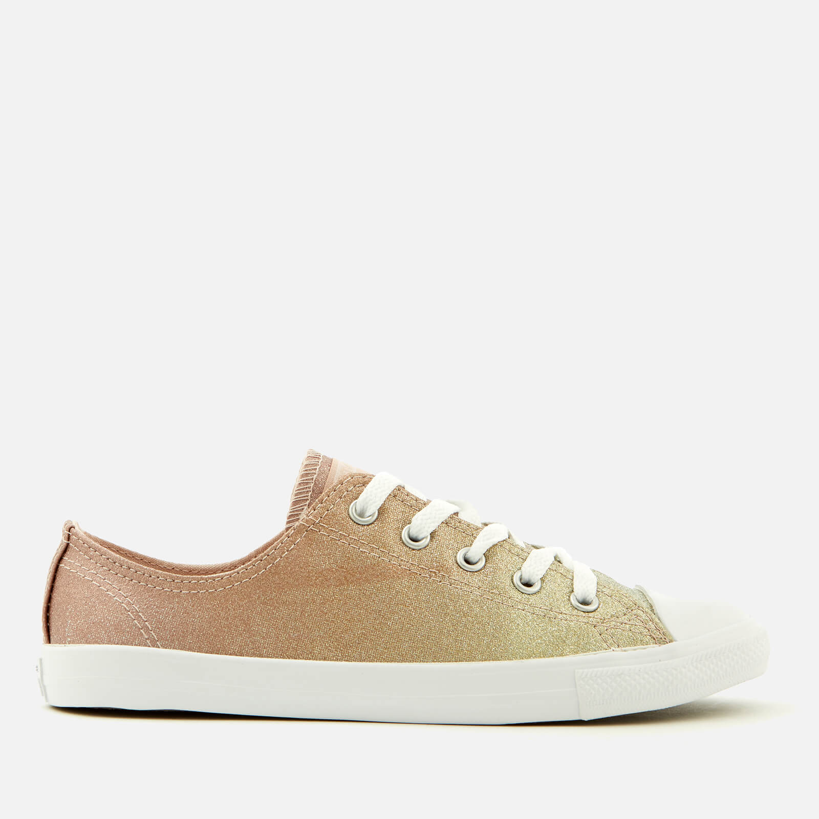 fb3088411f925a Converse Women s Chuck Taylor All Star Dainty Ox Trainers - Gold Particle  Beige White Womens Footwear