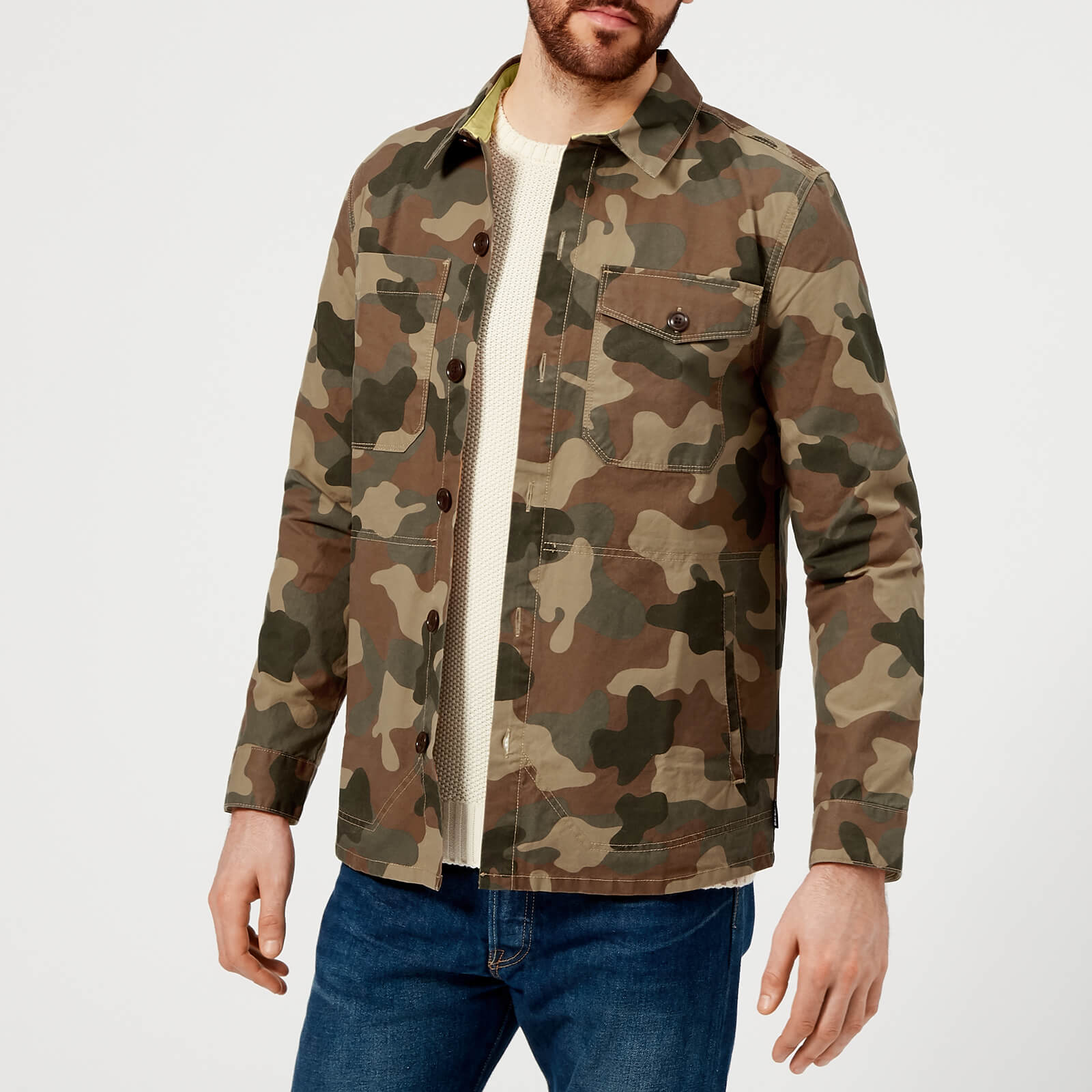 1a6b1ec37e6e4 Barbour Heritage Men's Camo Button Through Overshirt - Olive - Free UK  Delivery over £50
