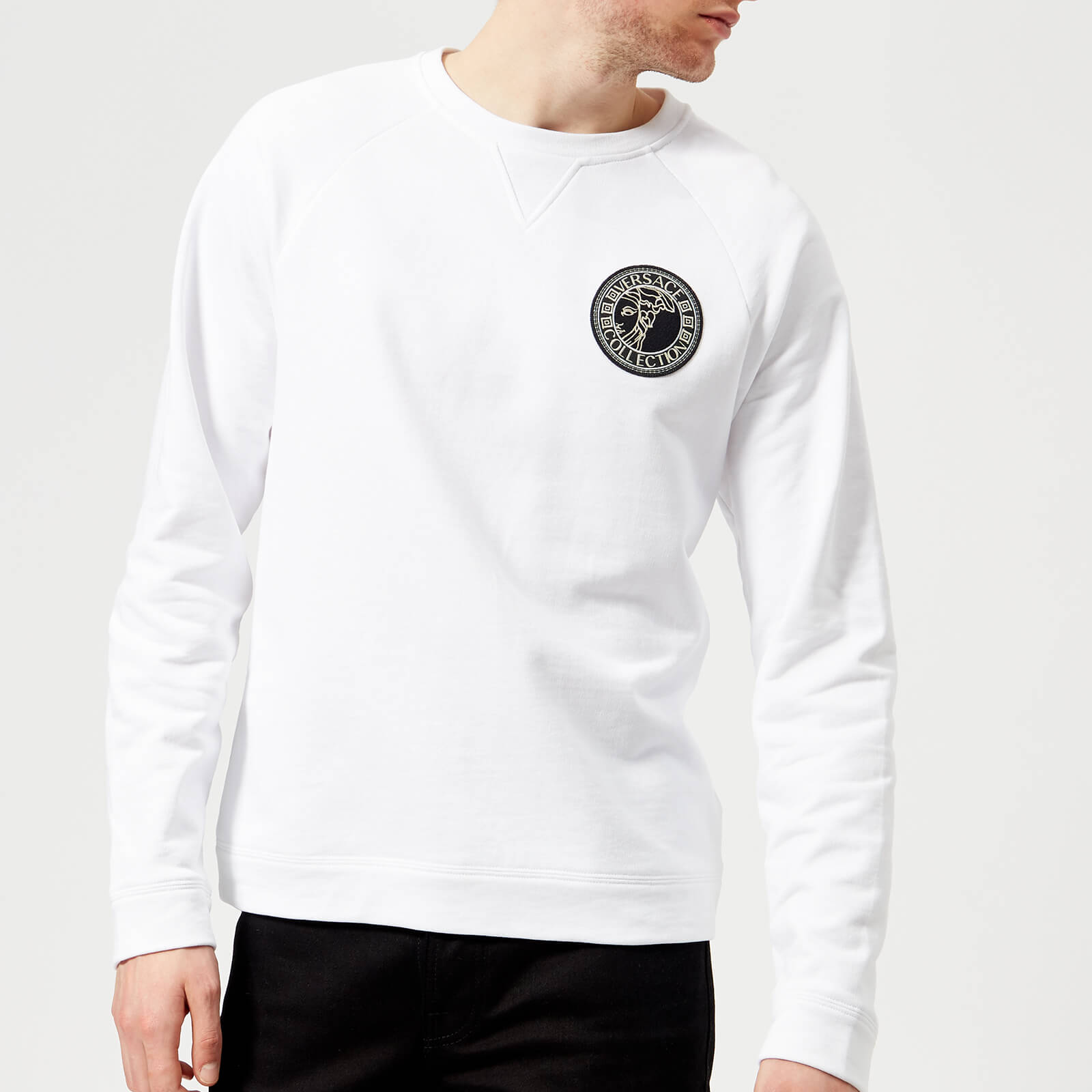 6a58d88a390ca Versace Collection Men s Round Logo Sweatshirt - Bianco - Free UK Delivery  over £50