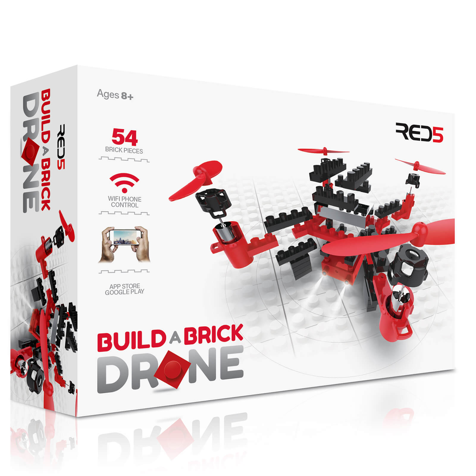RED5 Build-a-Brick Drone - Red/Black