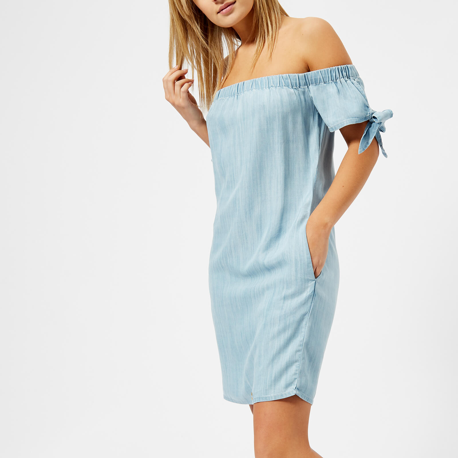 89e6d6447d Superdry Women s Alexia Off Shoulder Dress - Acid Wash Vacation Blue Womens  Clothing