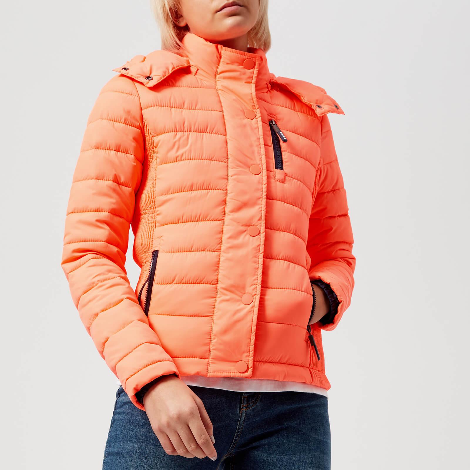 best cheap e9a15 4a0d6 Superdry Women's Fuji Slim Double Zip Hood Coat - Acid Coral
