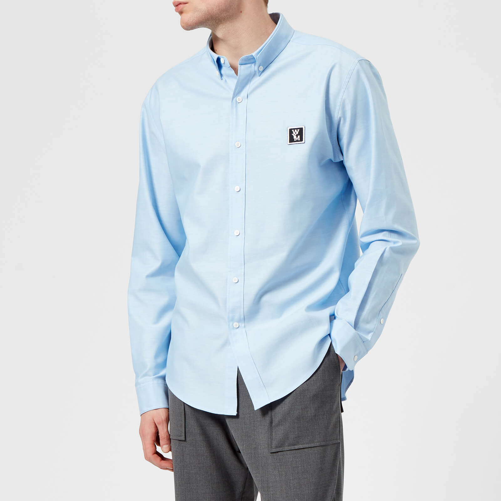 d7f12dfca20 Wooyoungmi Men s Button Down Oxford Shirt - Light Blue - Free UK Delivery  over £50