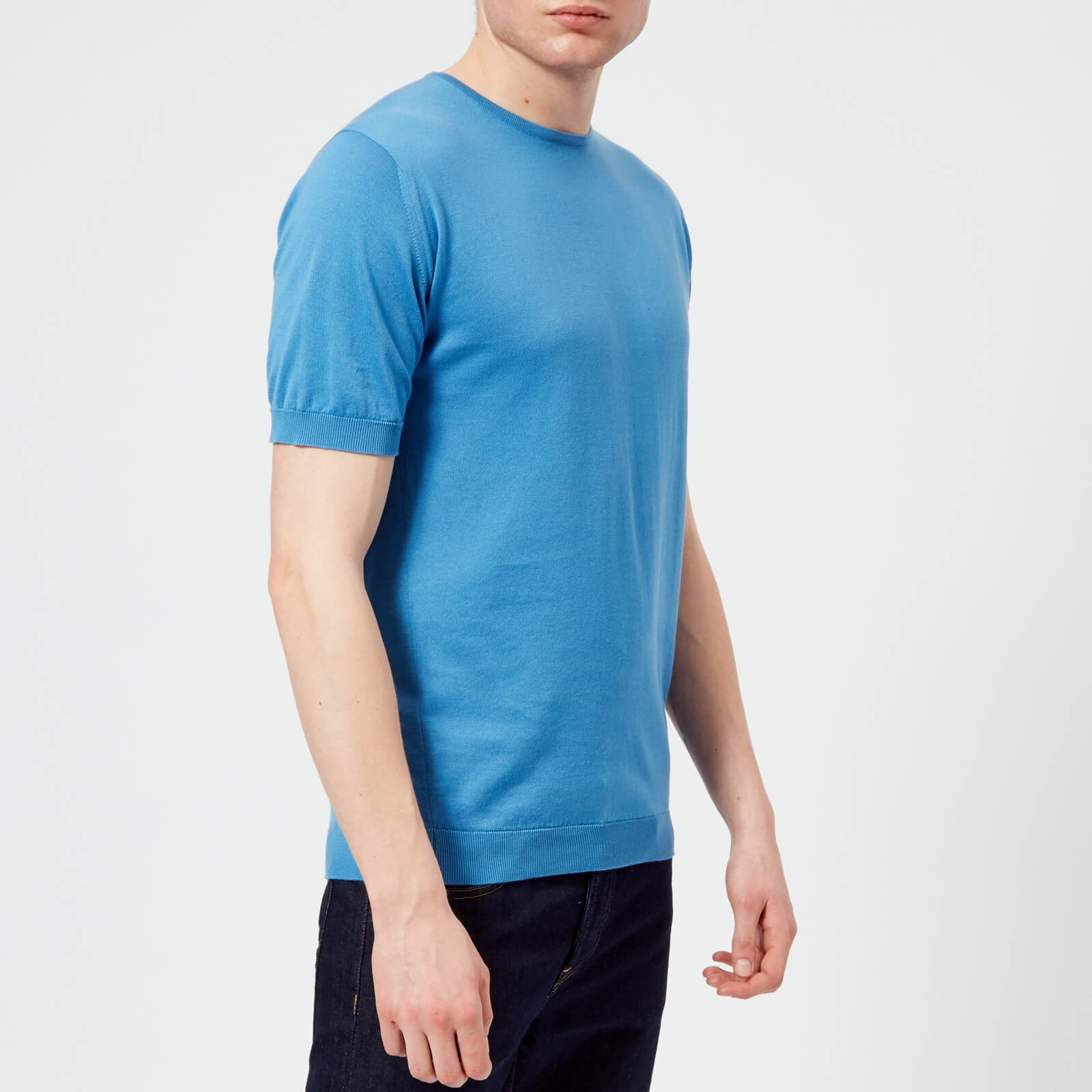 01a759029120 John Smedley Men's Belden 30 Gauge Sea Island Cotton T-Shirt - Chambray Blue  Clothing | TheHut.com