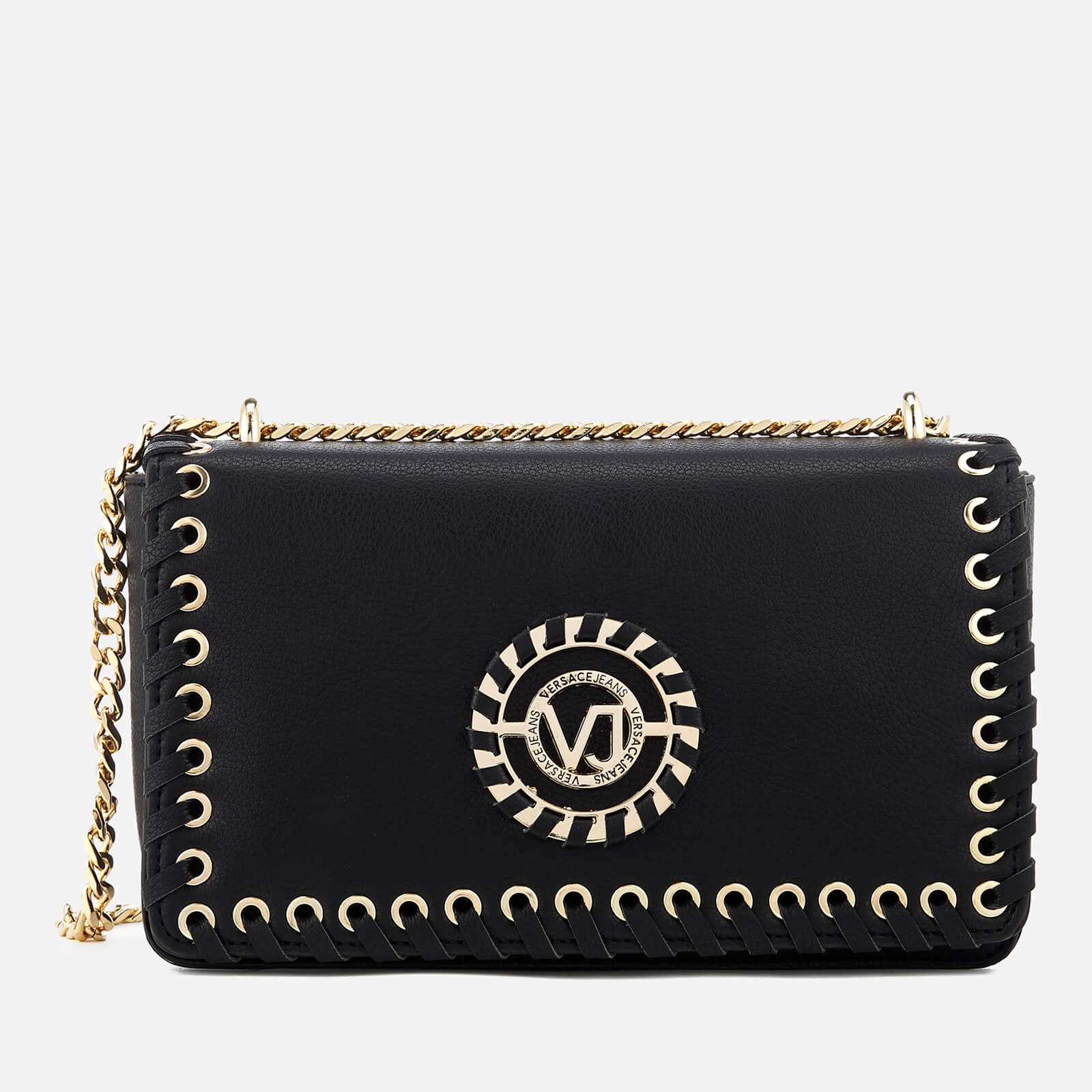 21bd142d410 Versace Jeans Women s Whip Stitched Shoulder Bag - Black Womens Accessories
