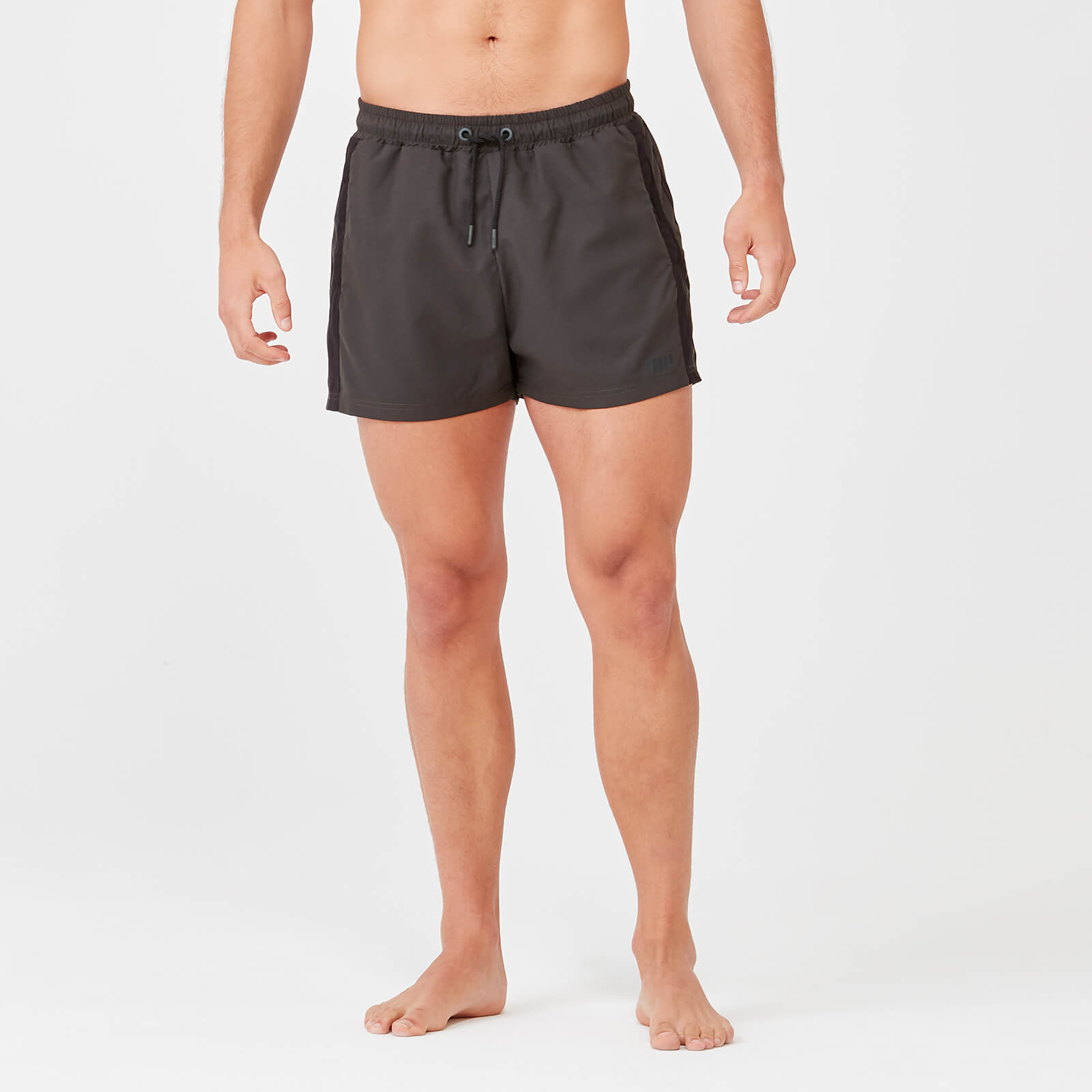 Short Length Stripe Swim Shorts - Dark Khaki/Black - XS