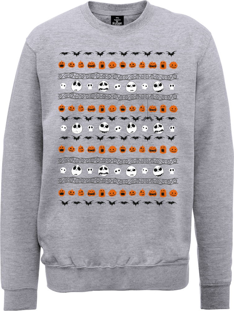 The Nightmare Before Christmas Jack Pumpkin Faces Grey Sweatshirt
