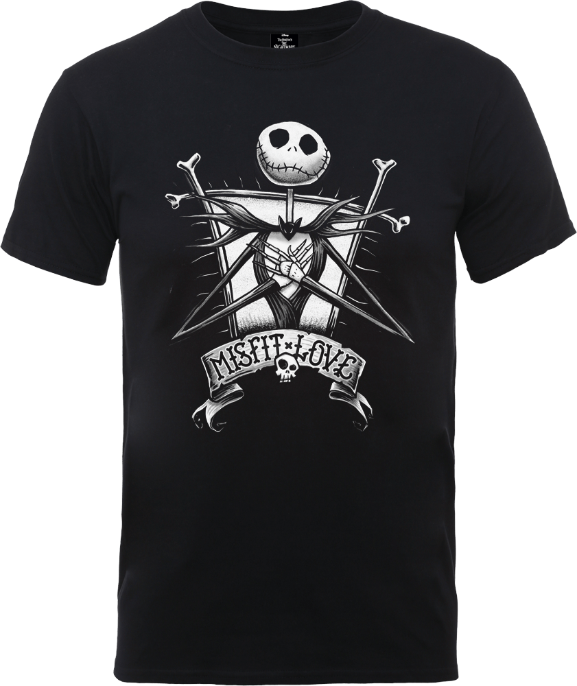 The Nightmare Before Christmas Jack Skellington Misfit Love Black T-Shirt