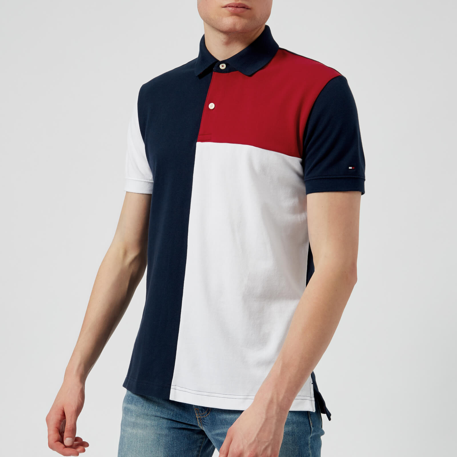 86457dda4 Tommy Hilfiger Men s Unique Colour Block Polo Shirt - Navy Blazer Clothing
