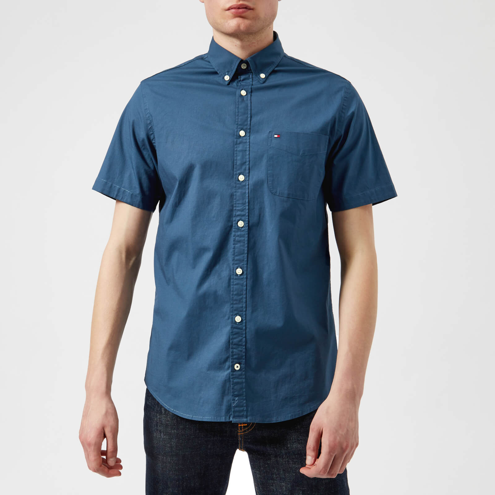 dede0e63 Tommy Hilfiger Men's Stretch Poplin Short Sleeve Shirt - Dark Denim Mens  Clothing | TheHut.com