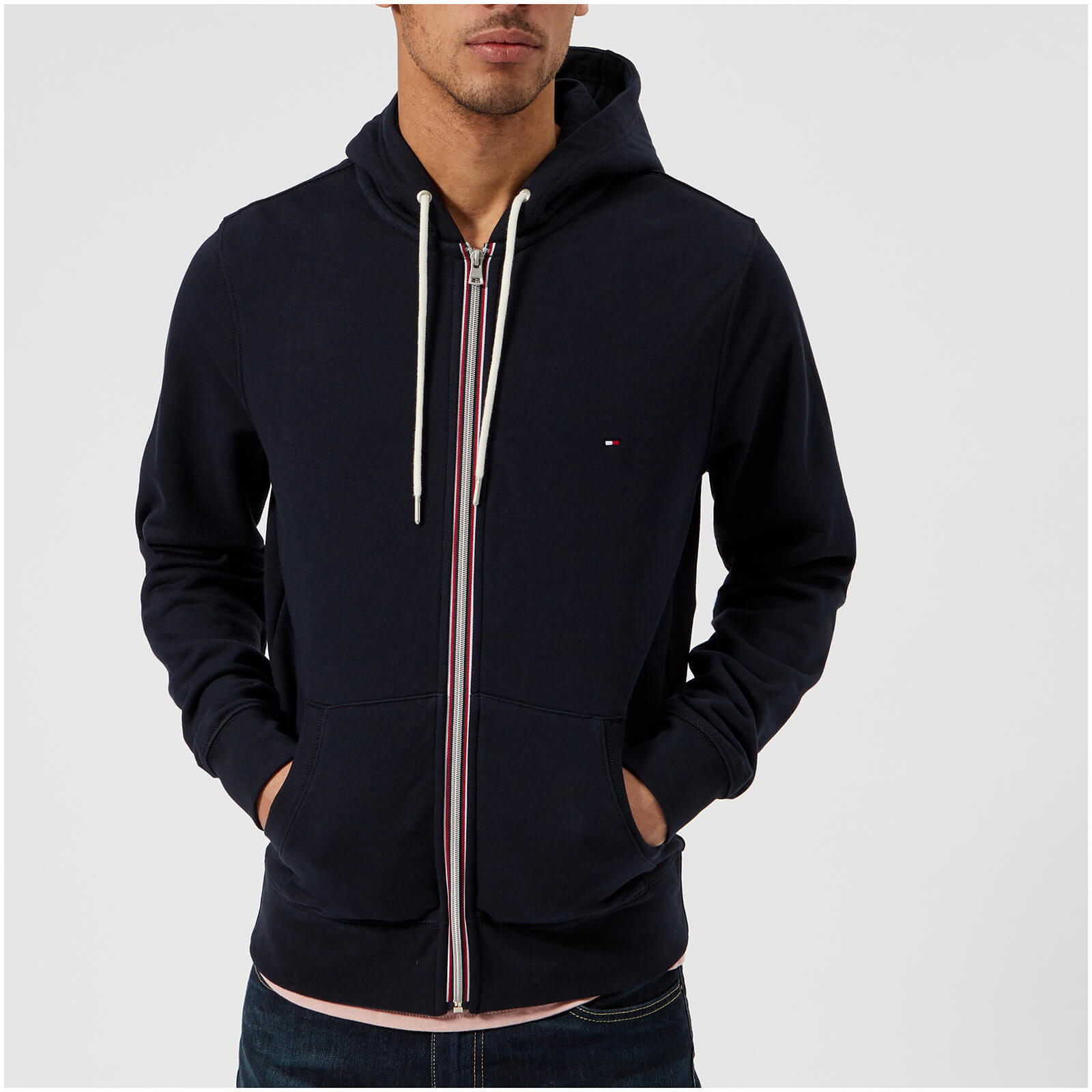 d832f620 Tommy Hilfiger Men's Basic Hooded Zip Through Sweatshirt - Midnight Mens  Clothing | TheHut.com