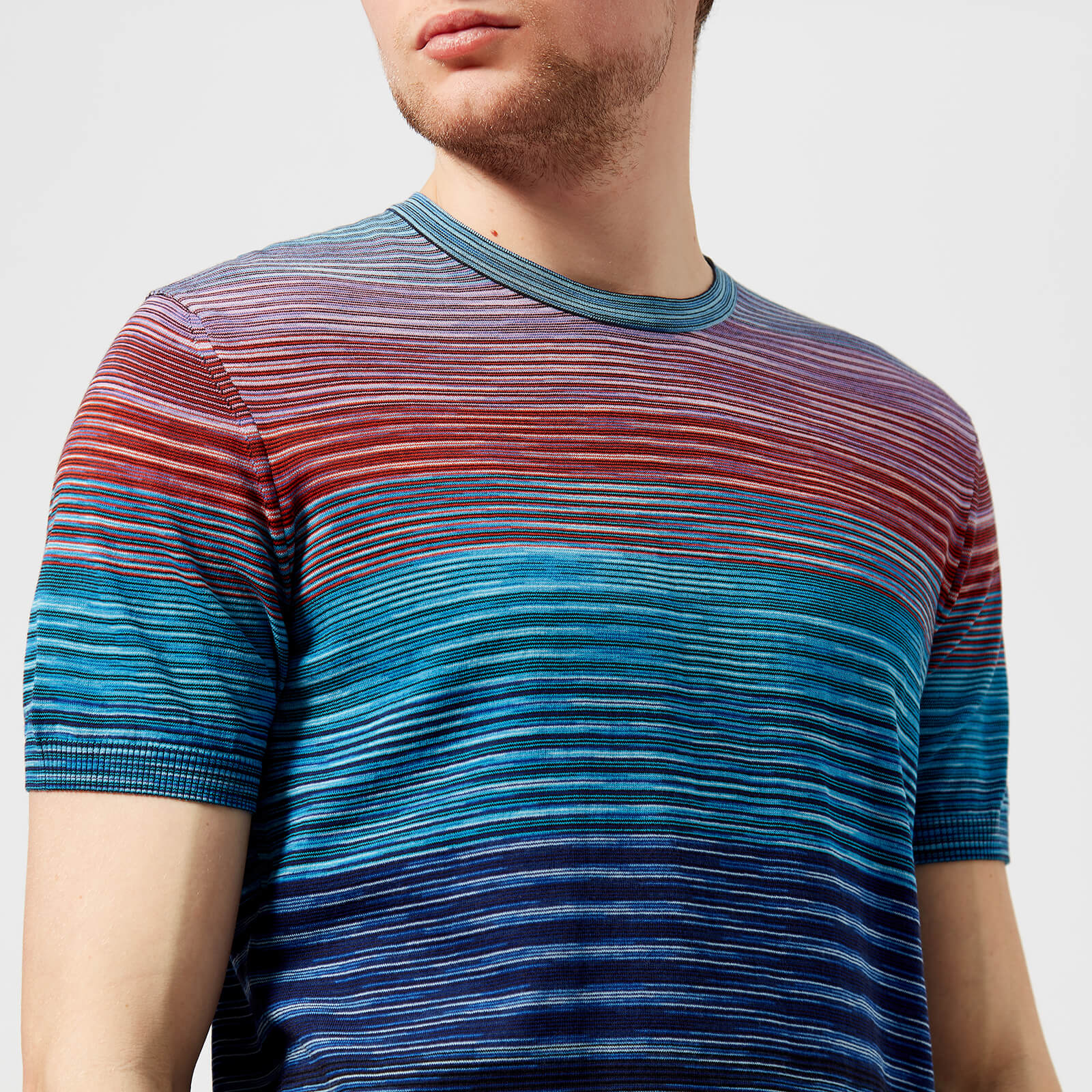 1ae9752272f027 Missoni Men's Classic Multi Stripe T-Shirt - Blue - Free UK Delivery over  £50
