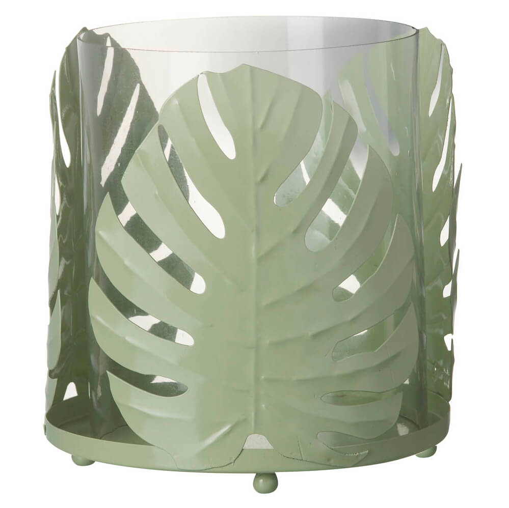 Parlane Hurricane Palm Metal/Glass Candle Holder - Light Green