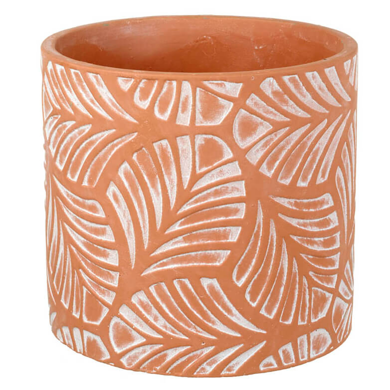 Parlane Leaves Concrete Planter - Terracotta (16 x 16.5cm)