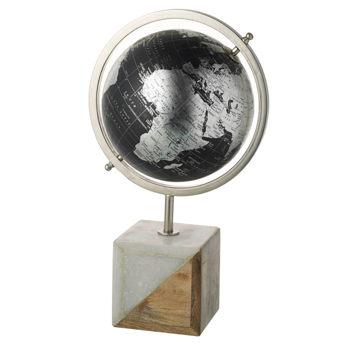 Parlane Globe with Marble Base - Black/Silver