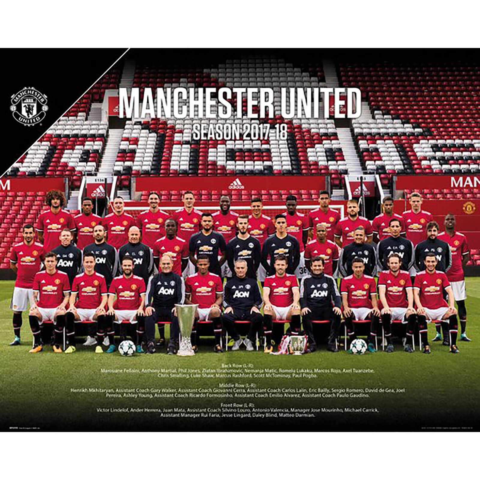 Manchester United Team Photo 17/18 Mini Poster 40 x 50cm