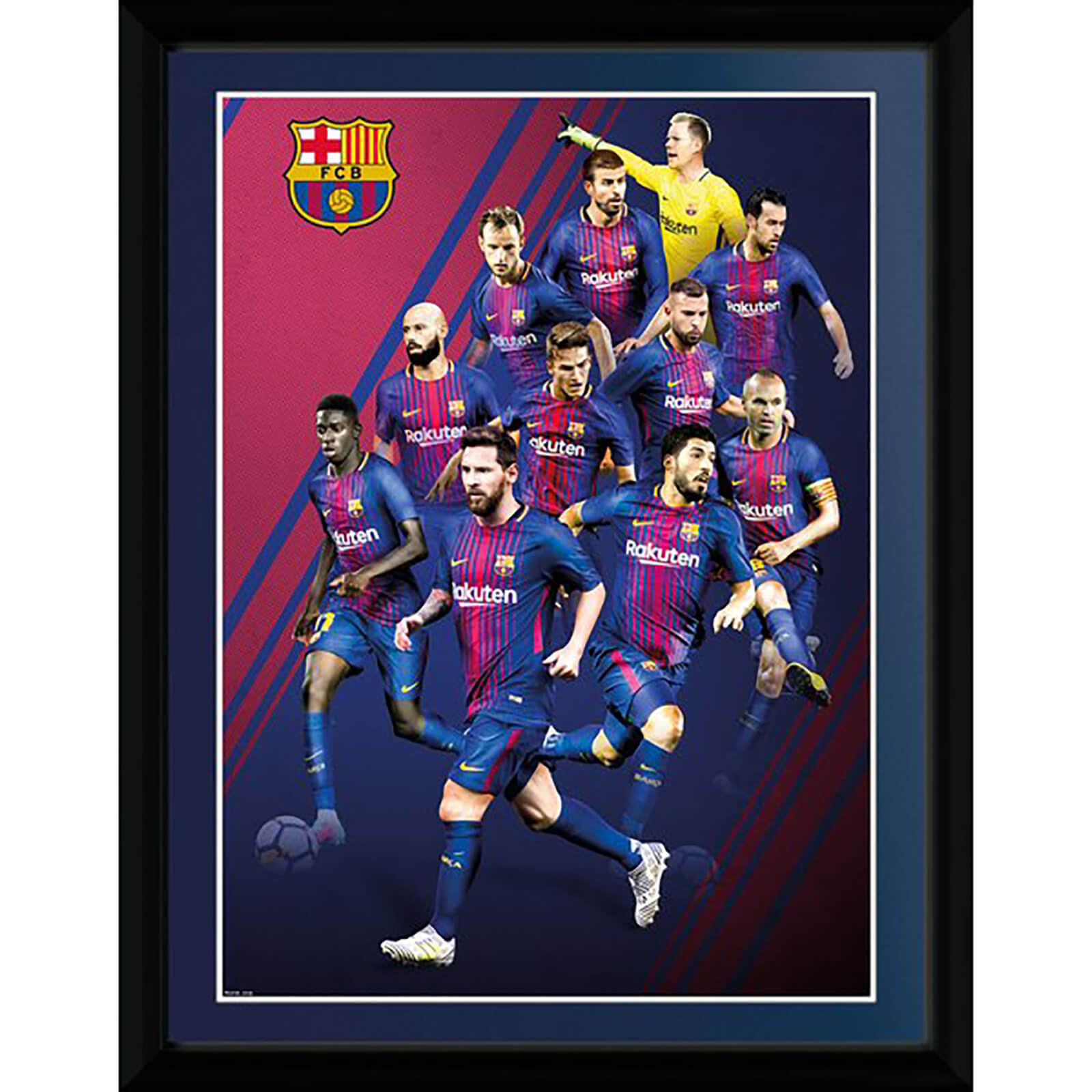Barcelona Players 17/18 Framed Photograph 12 x 16 Inch